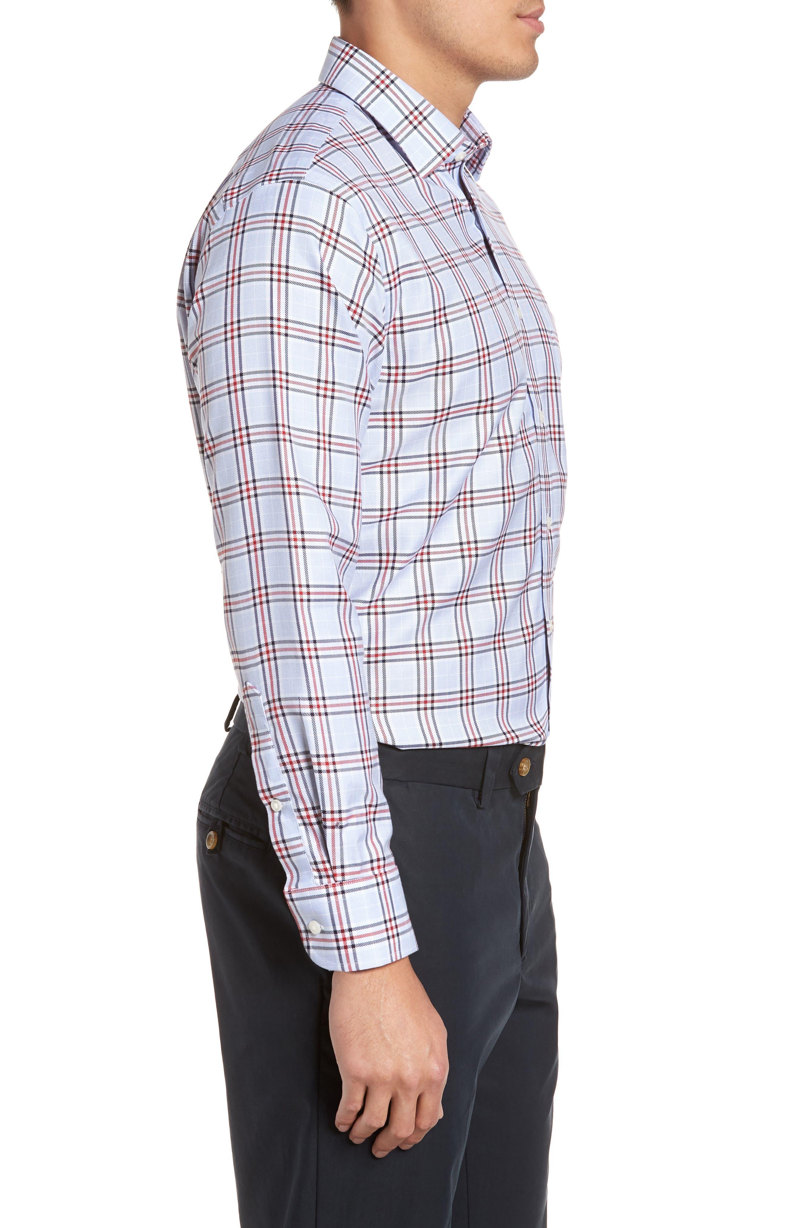 Smartcare<sup>™</sup> Trim Fit Plaid Dress Shirt,                             Alternate thumbnail 4, color,