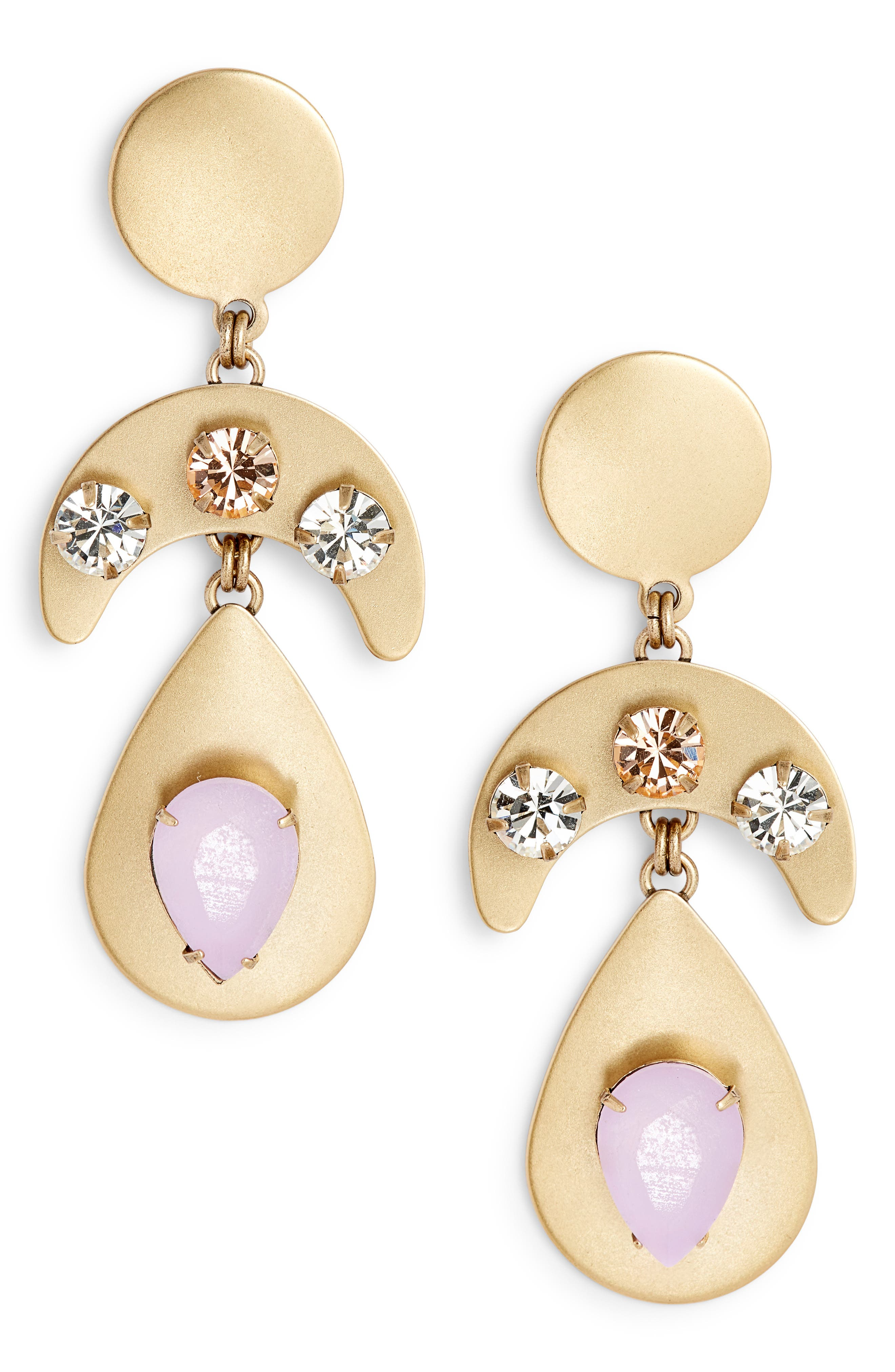 Everly Linked Drop Earrings,                             Main thumbnail 1, color,                             PURPLE MULTI