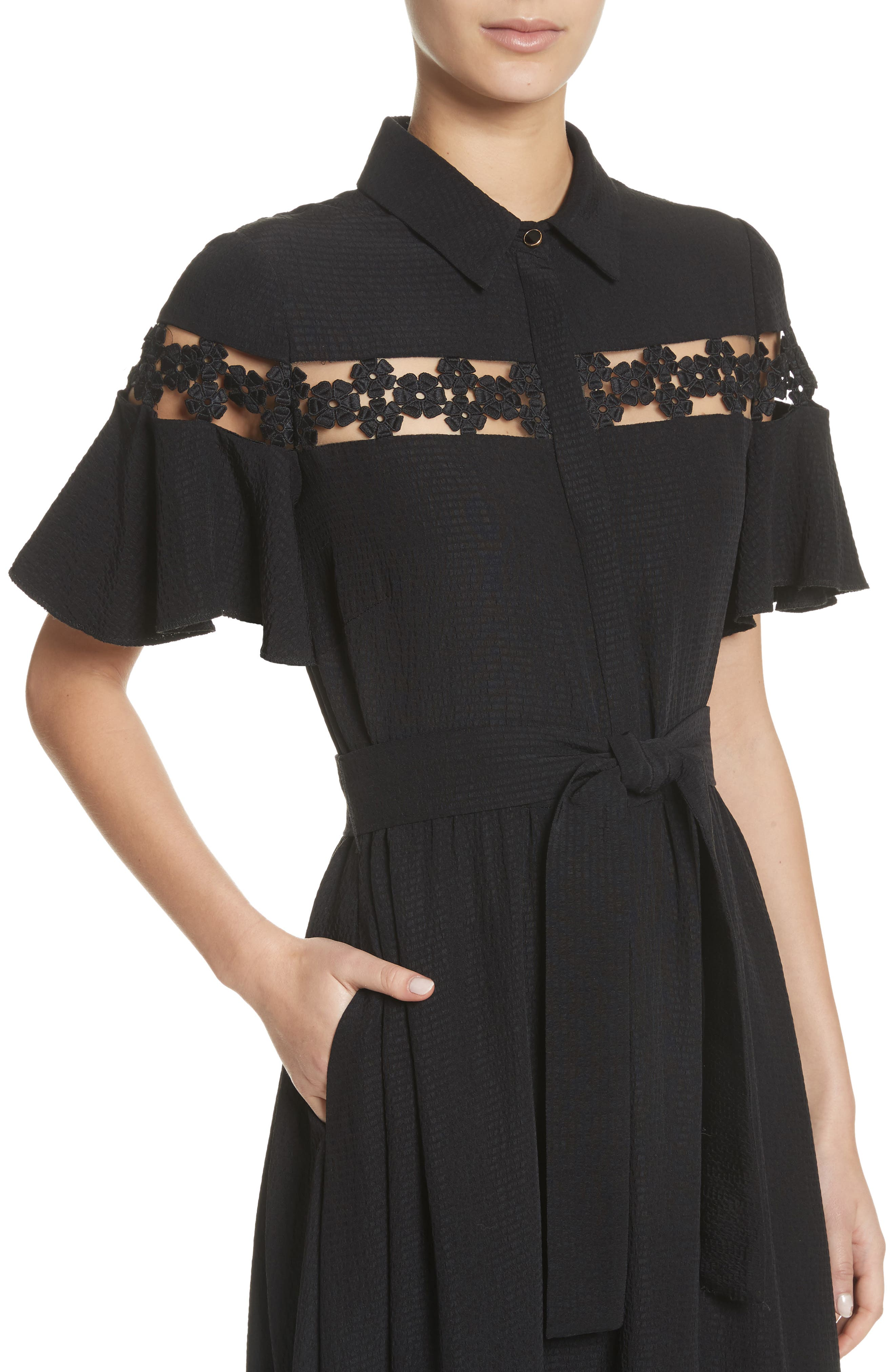 Lace Inset Flutter Sleeve Shirtdress,                             Alternate thumbnail 4, color,                             001