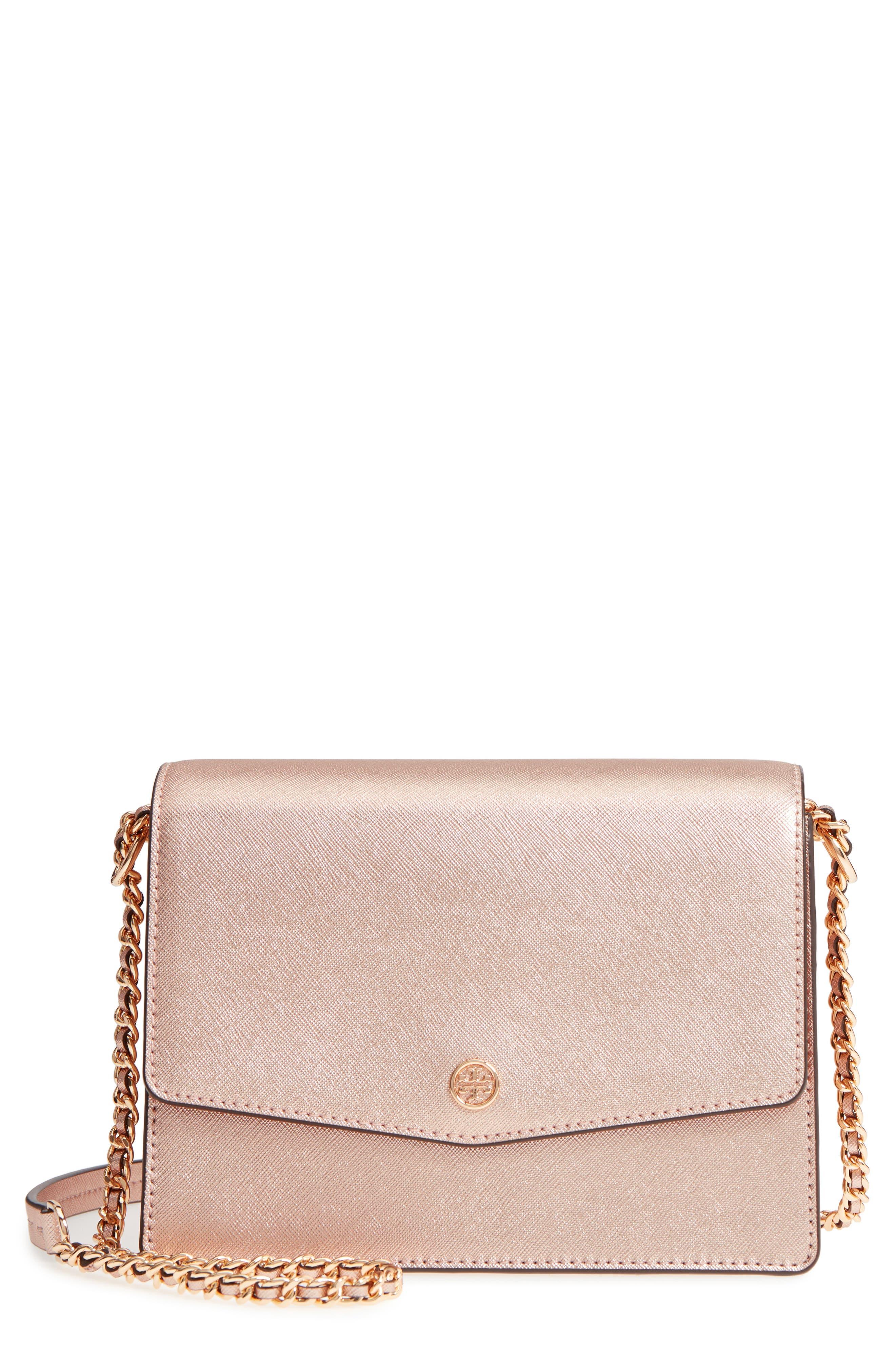Robinson Convertible Metallic Leather Shoulder Bag,                             Main thumbnail 1, color,                             LIGHT ROSE GOLD