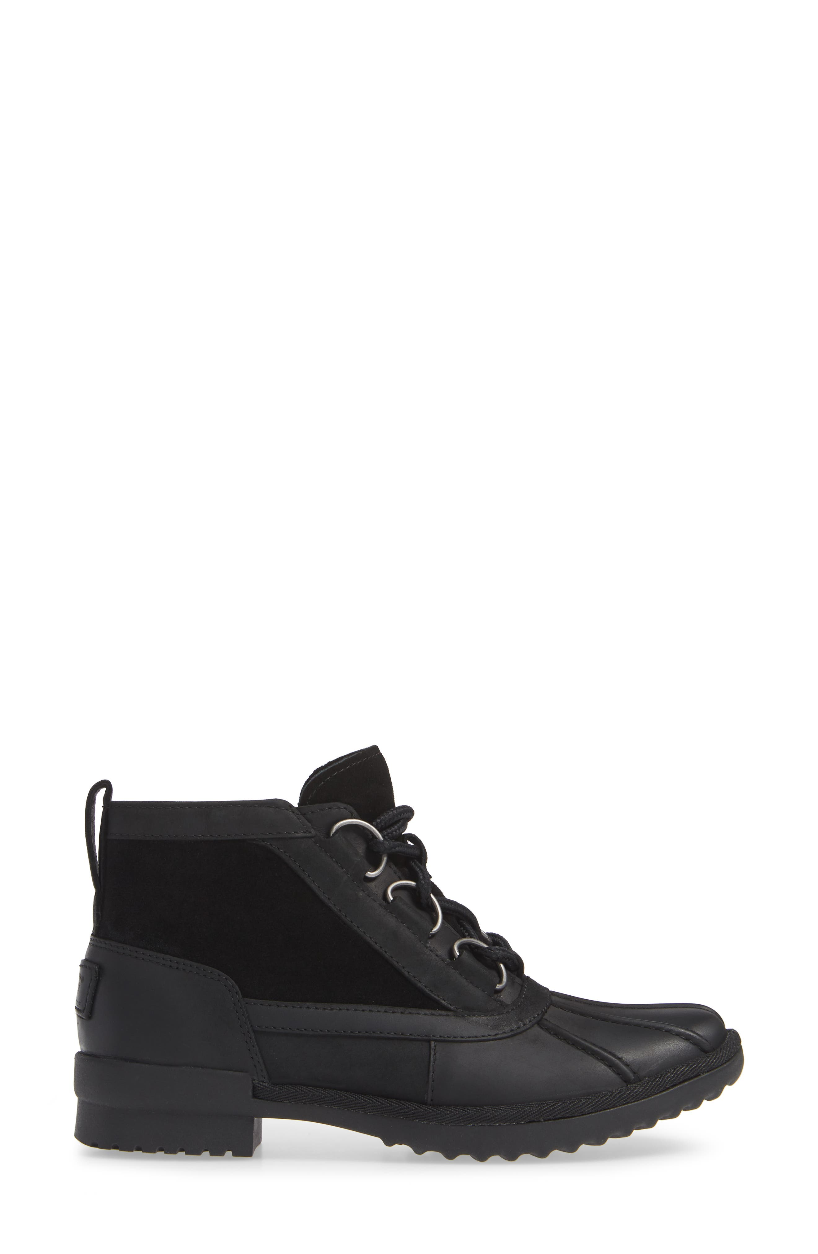 Heather Waterproof Lace-Up Bootie,                             Alternate thumbnail 3, color,                             BLACK LEATHER
