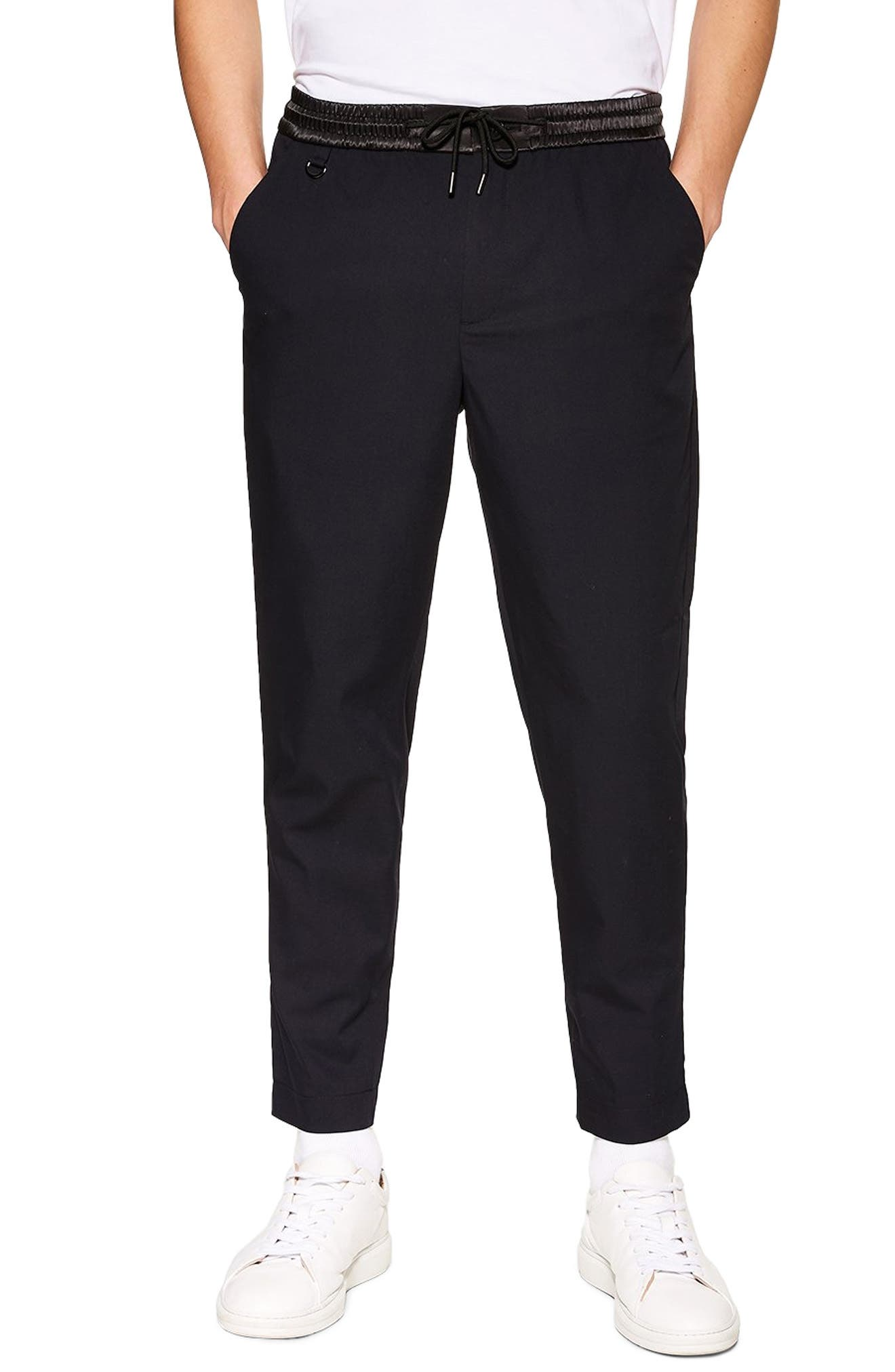 TOPMAN Relaxed Cropped Trousers, Main, color, NAVY BLUE