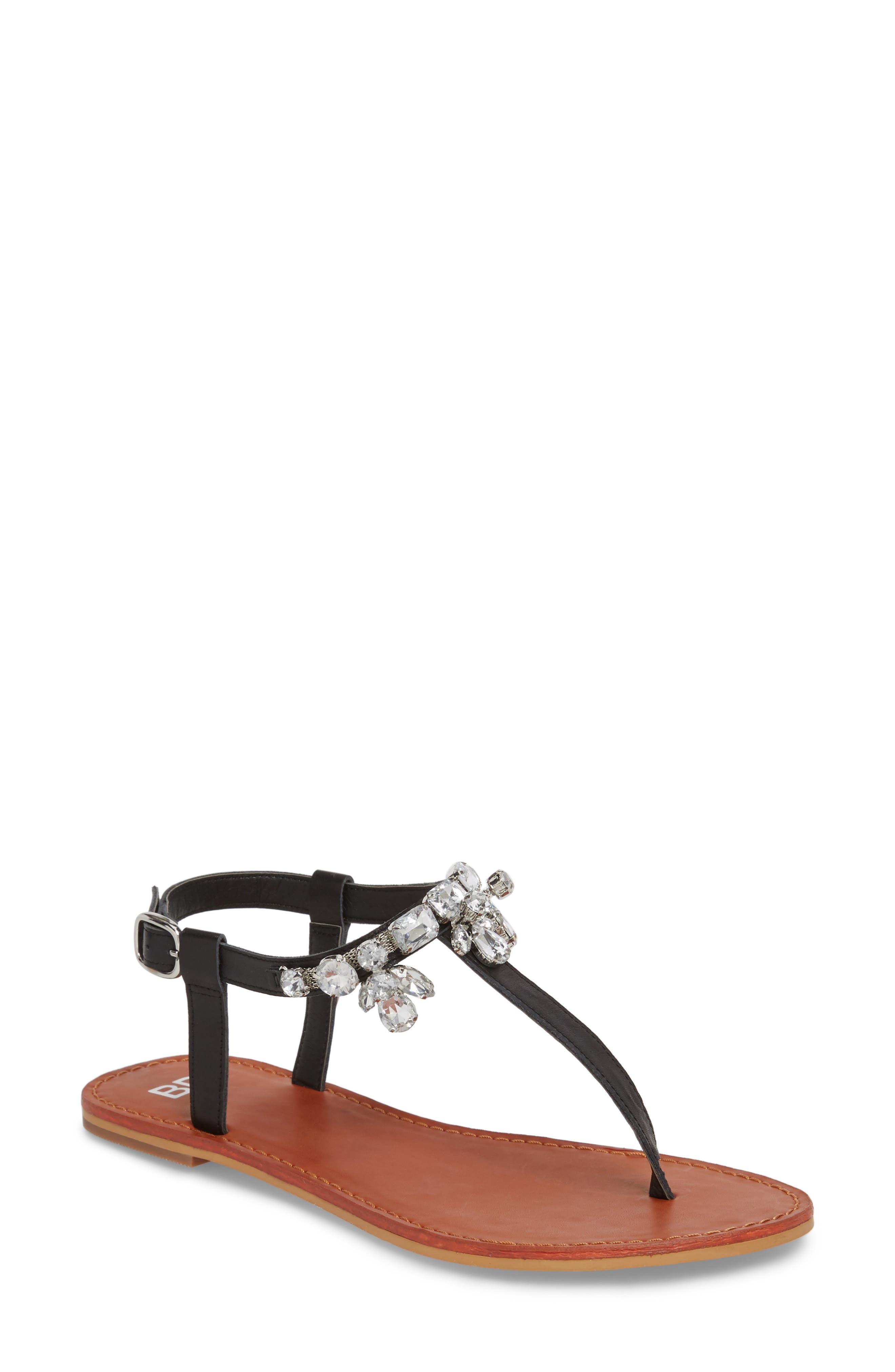 Rock Embellished T-Strap Sandal,                         Main,                         color, 001