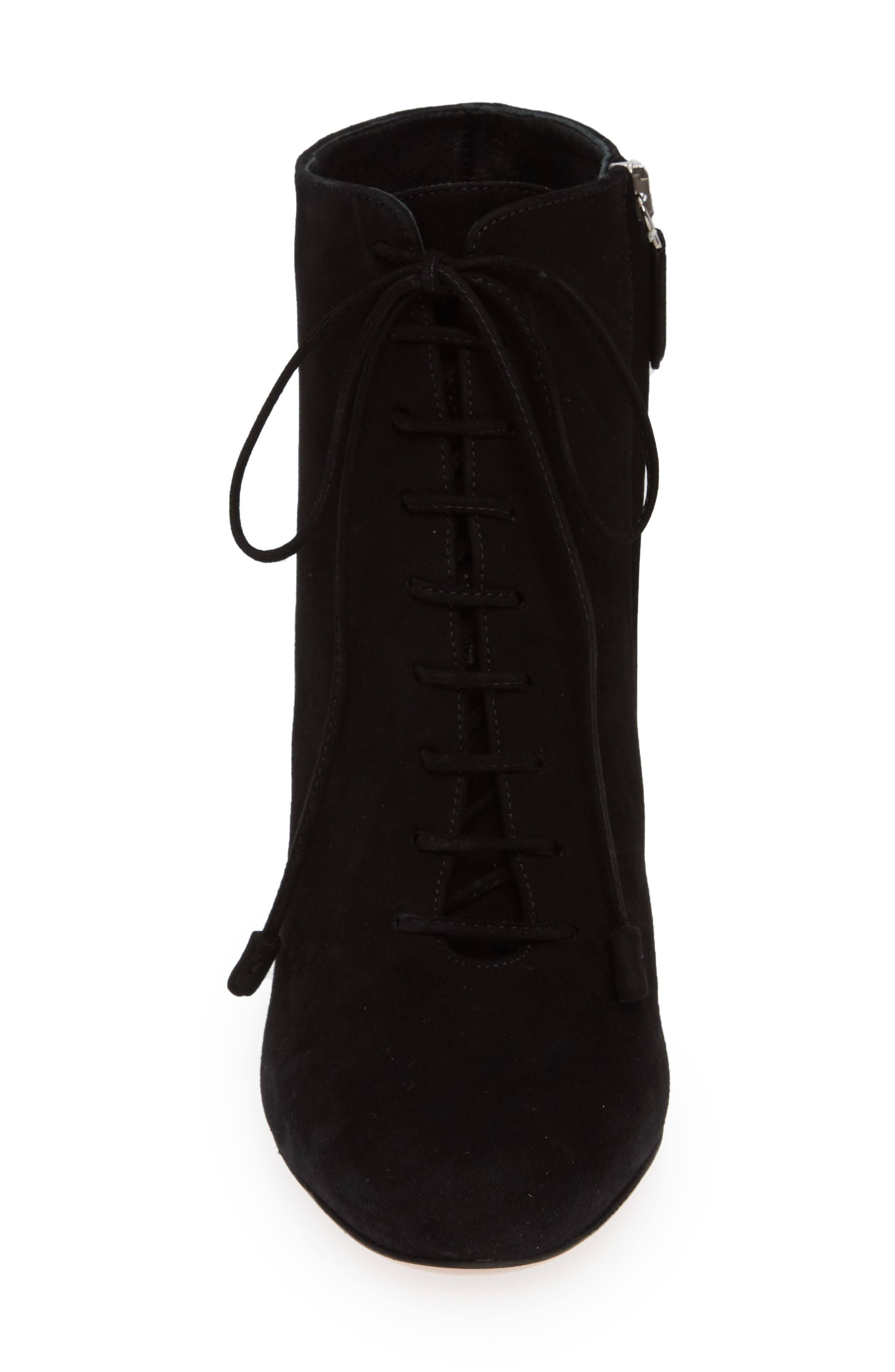 Lace-Up Bootie,                             Alternate thumbnail 4, color,                             BLACK