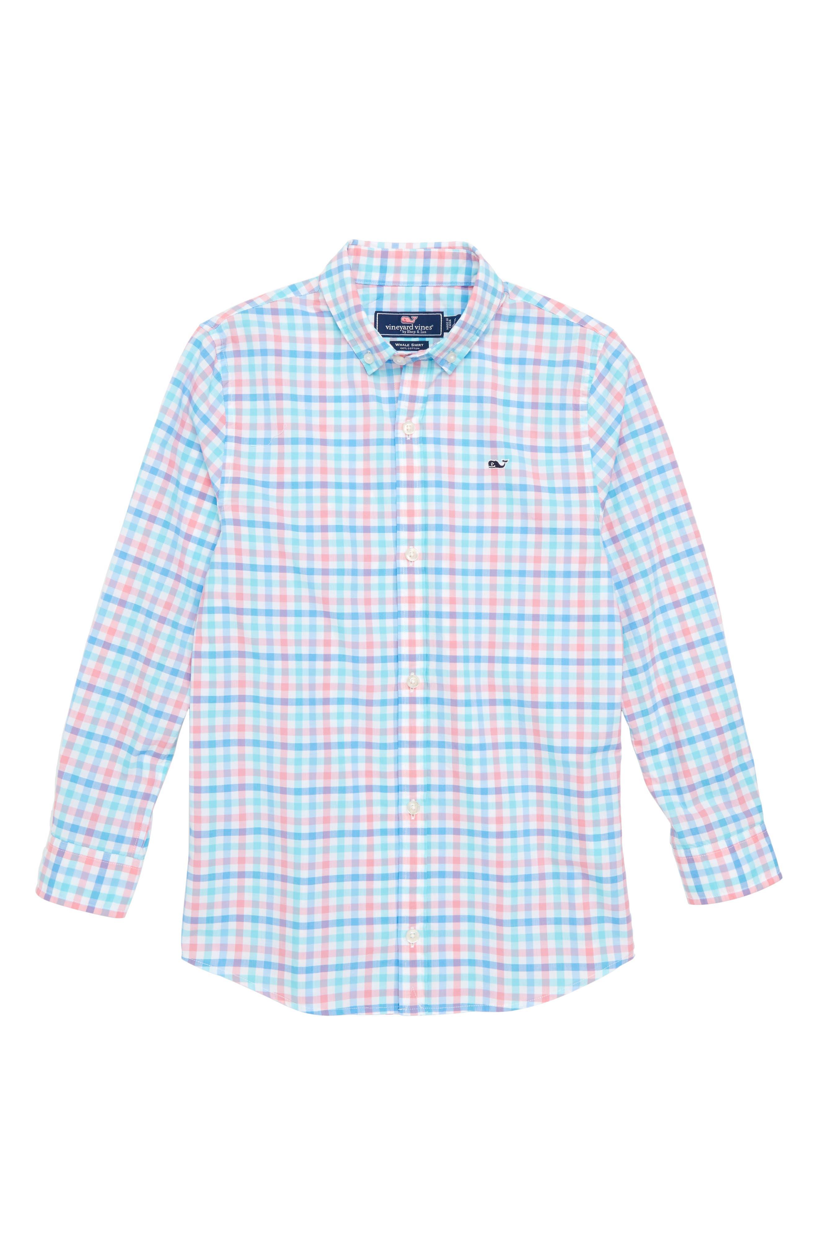 Cattail Check Whale Shirt,                         Main,                         color, 650