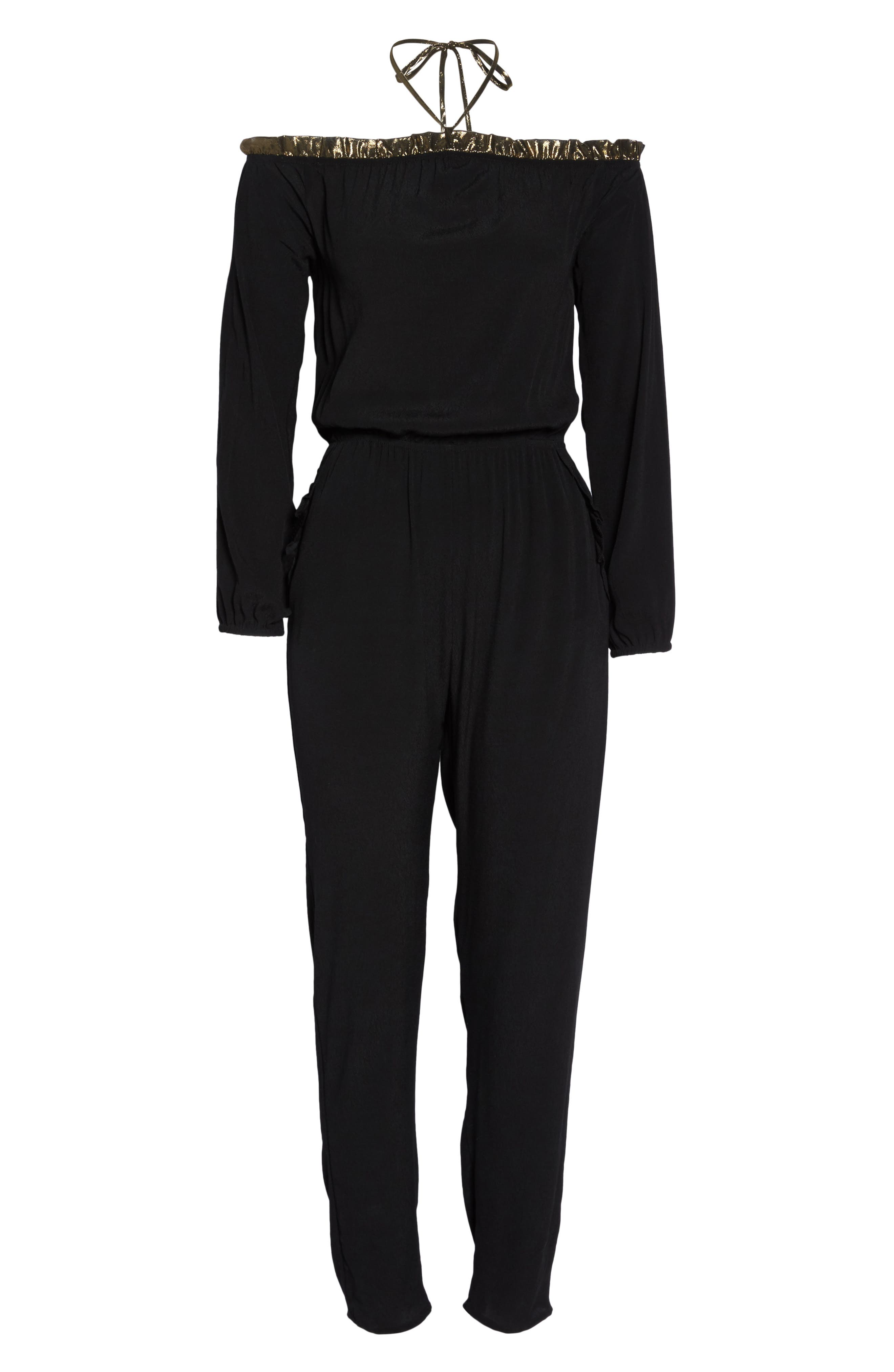 Cold Shoulder Jumpsuit,                             Alternate thumbnail 6, color,                             BLACK GOLD