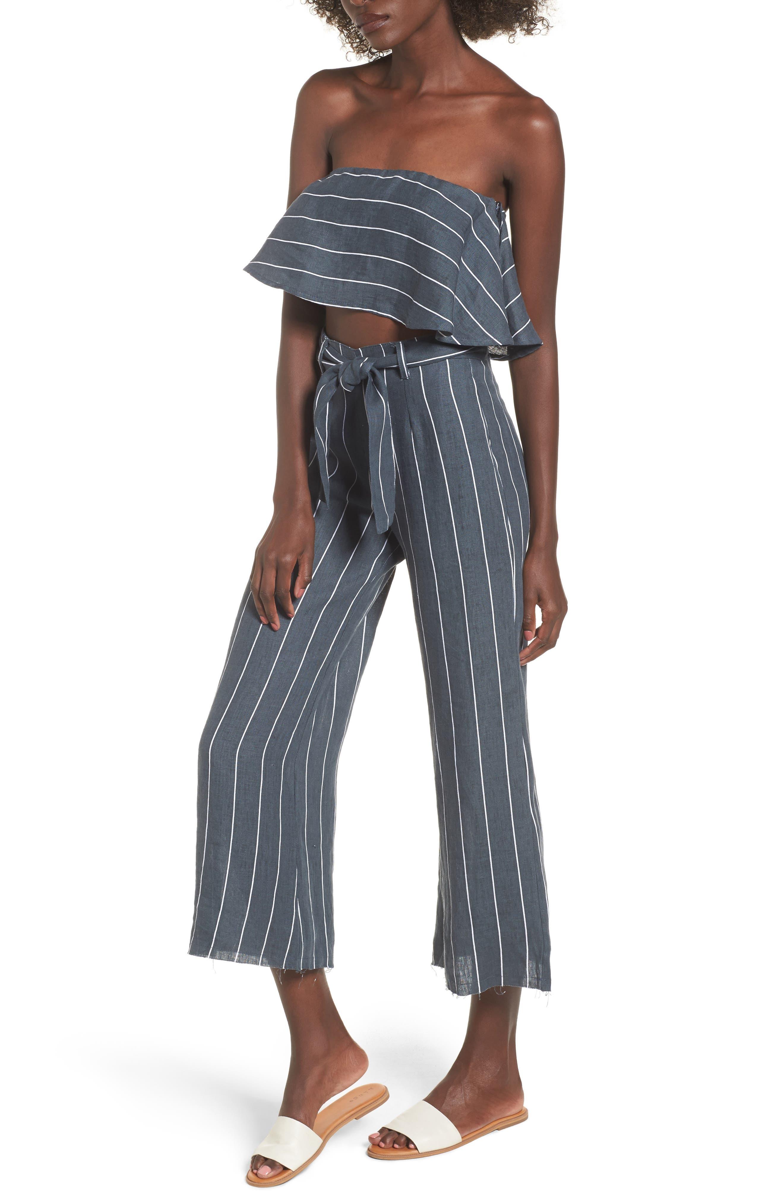 Como Pinstripe Wide Leg Crop Linen Pants,                             Alternate thumbnail 7, color,                             CHARCOAL