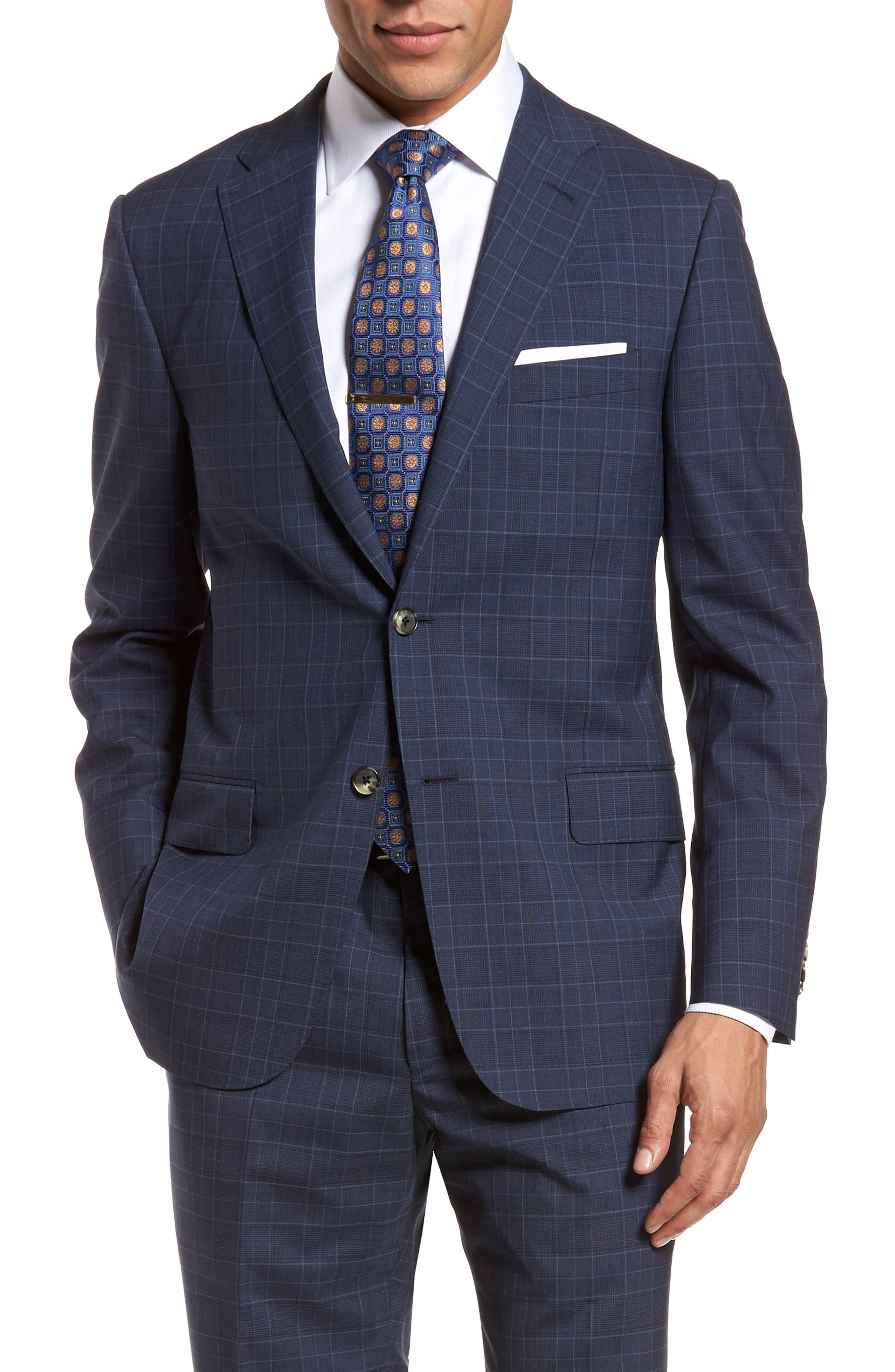 HICKEY FREEMAN,                             Classic B Fit Plaid Wool Suit,                             Alternate thumbnail 5, color,                             400
