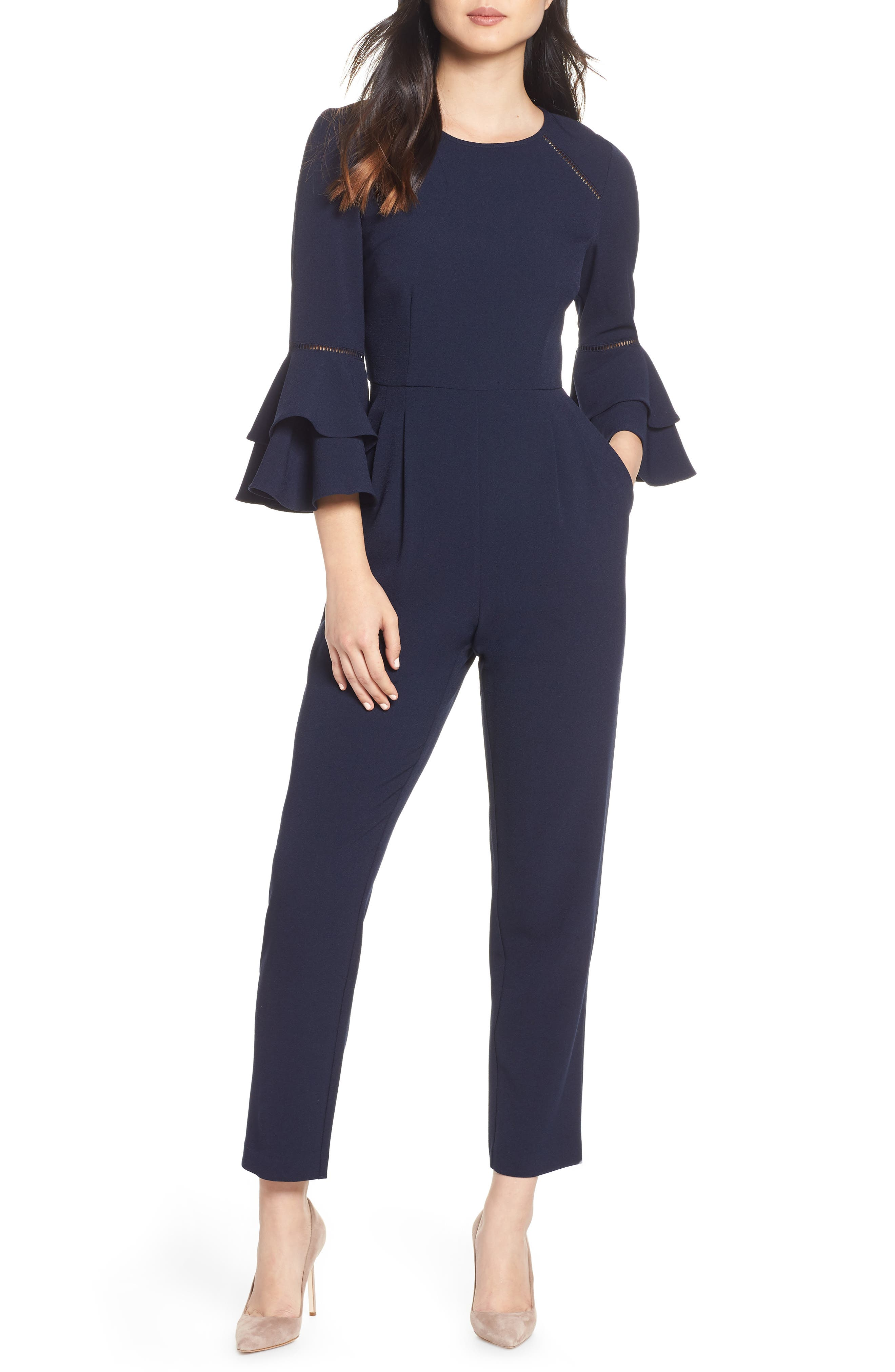 ELIZA J,                             Bell Sleeve Jumpsuit,                             Main thumbnail 1, color,                             NAVY