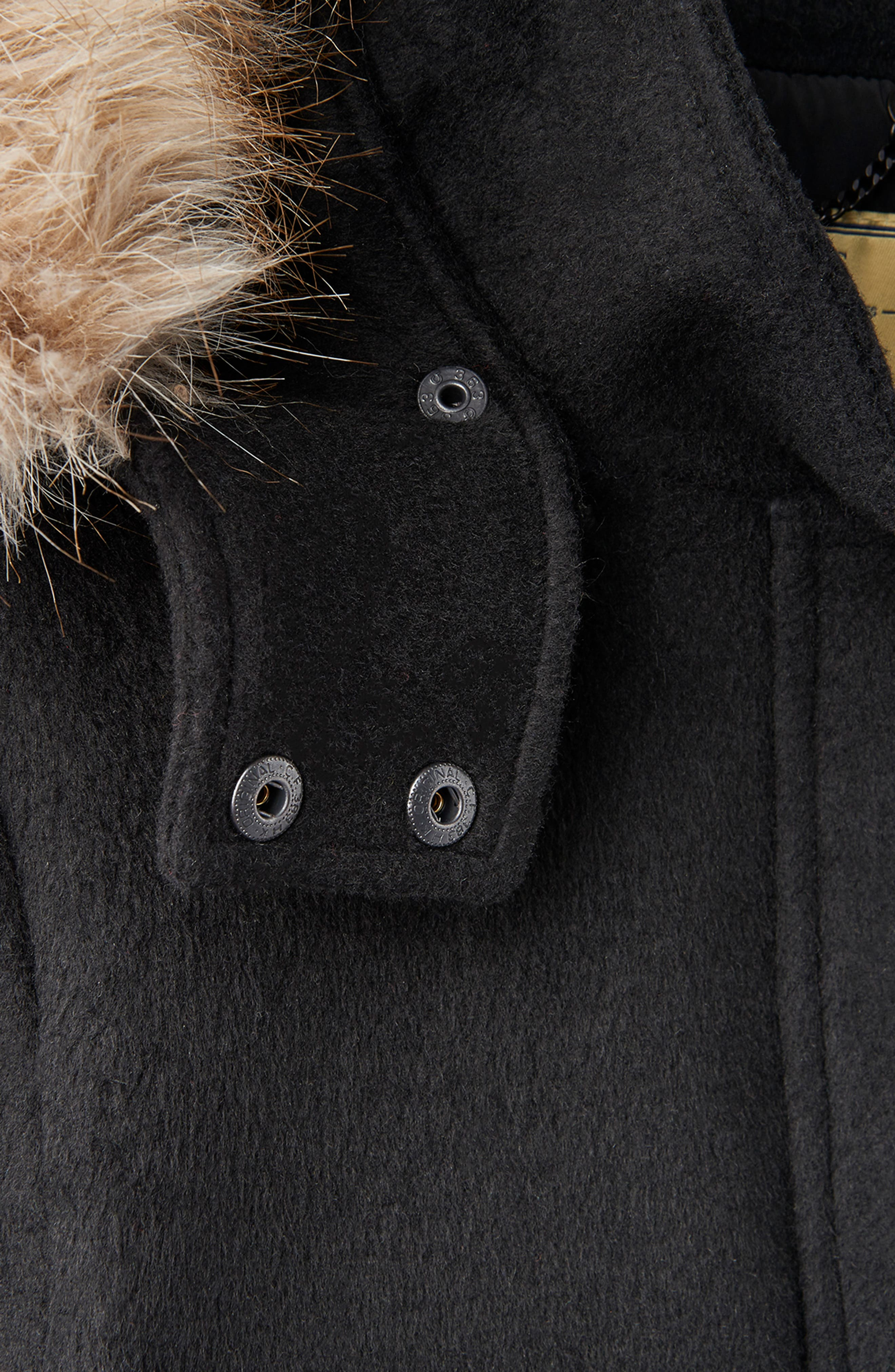 Mixed Texture Hooded Coat with Faux Fur Trim,                             Alternate thumbnail 13, color,                             BLACK