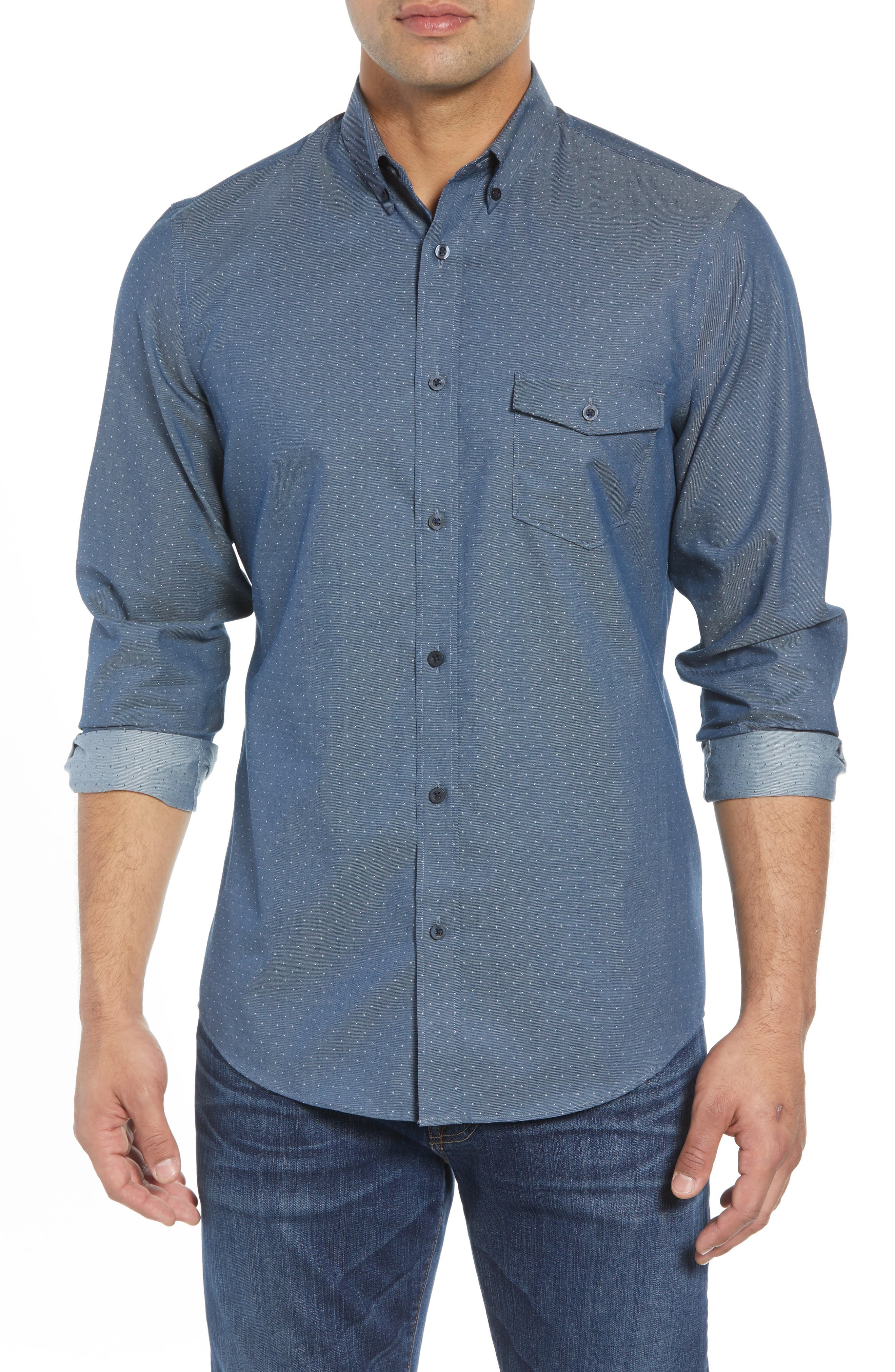 Regular Fit Dobby No-Iron Sport Shirt,                         Main,                         color, NAVY ARMADA CHAMBRAY DOBBY