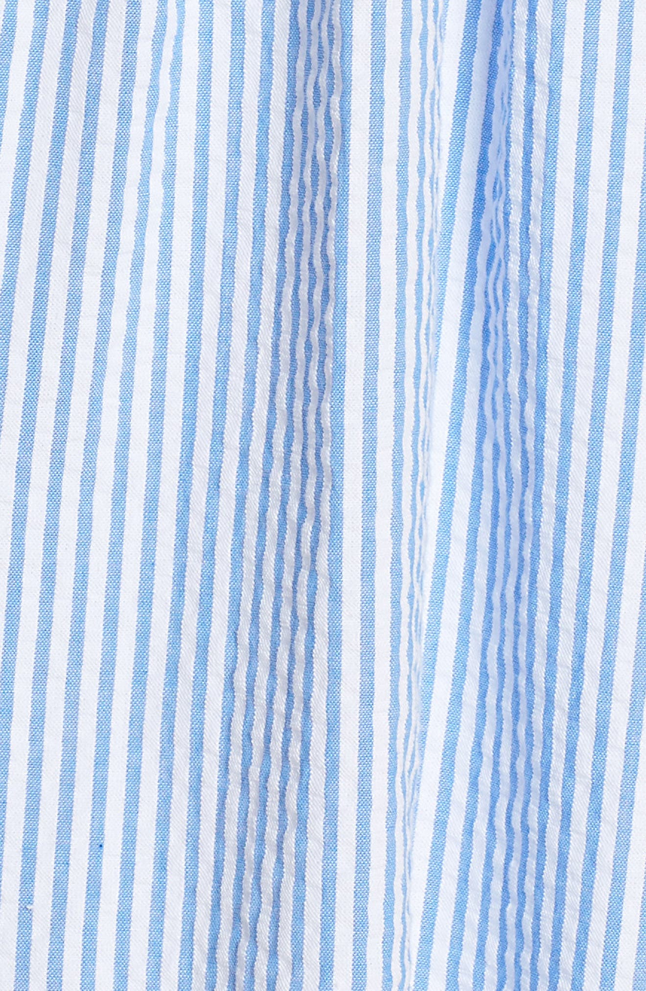 Lilly Pullitzer<sup>®</sup> Alivia Eyelet & Seersucker Fit & Flare Dress,                             Alternate thumbnail 5, color,                             BENNET BLUE YARD DYED STRIPE