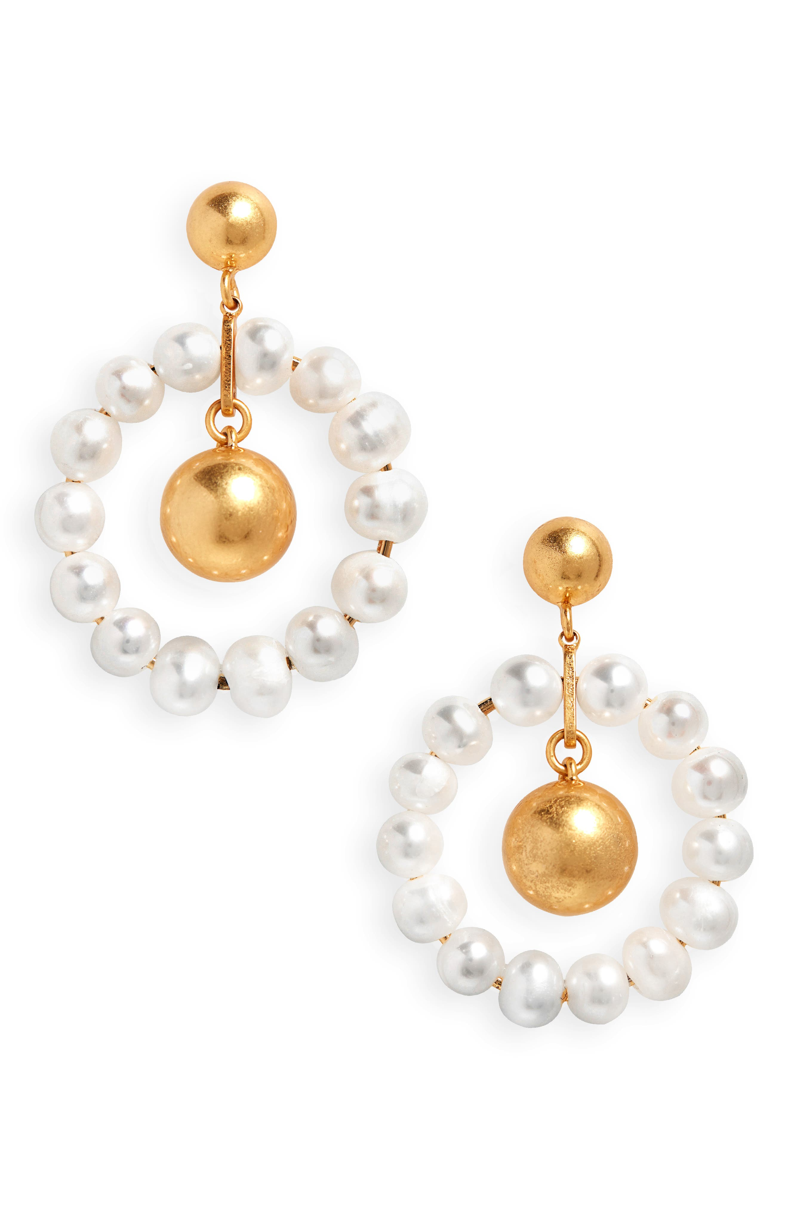 Pearl Hoop Earrings,                             Main thumbnail 1, color,                             CLASSIC PEARL