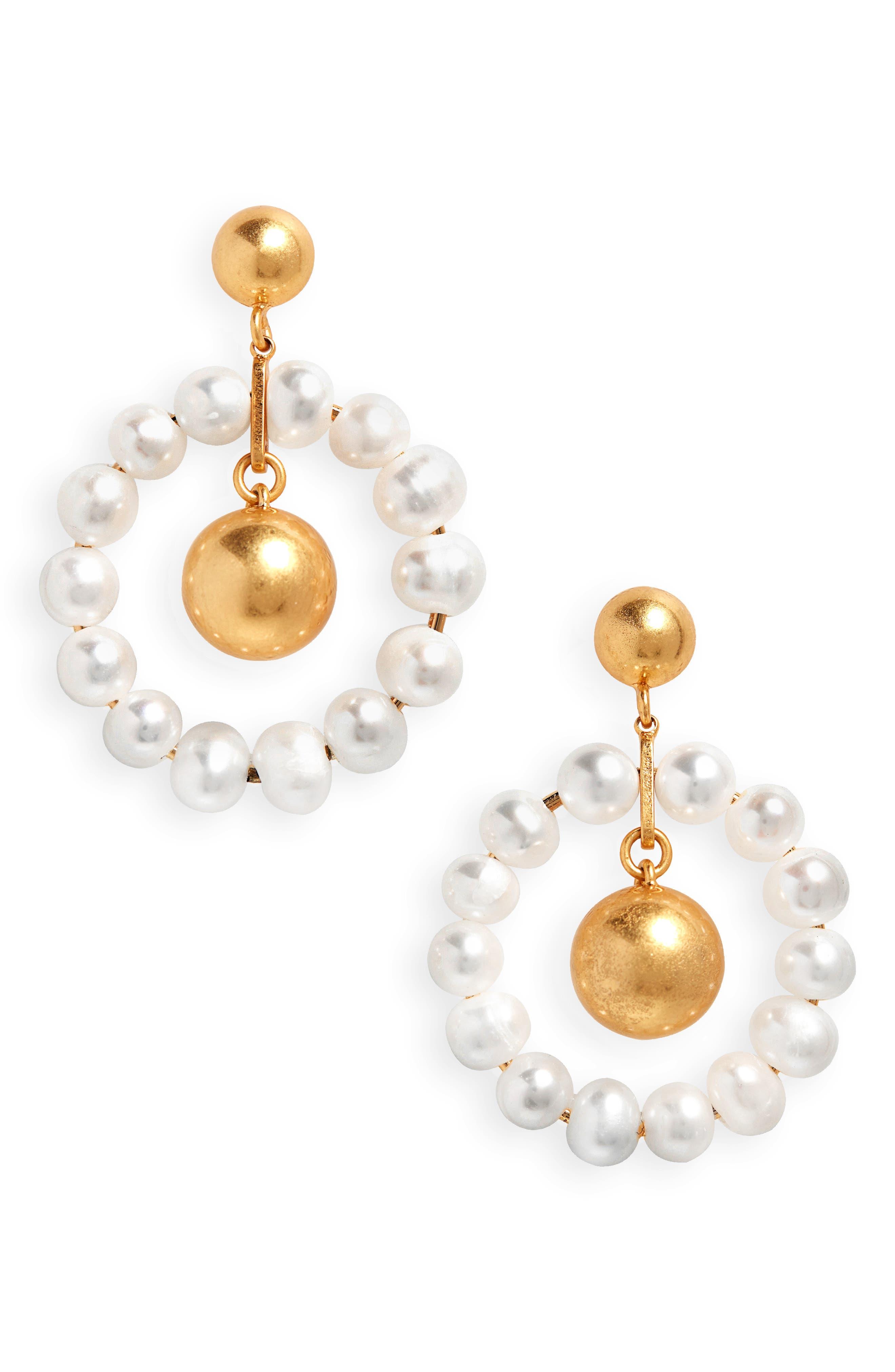 Pearl Hoop Earrings,                         Main,                         color, CLASSIC PEARL