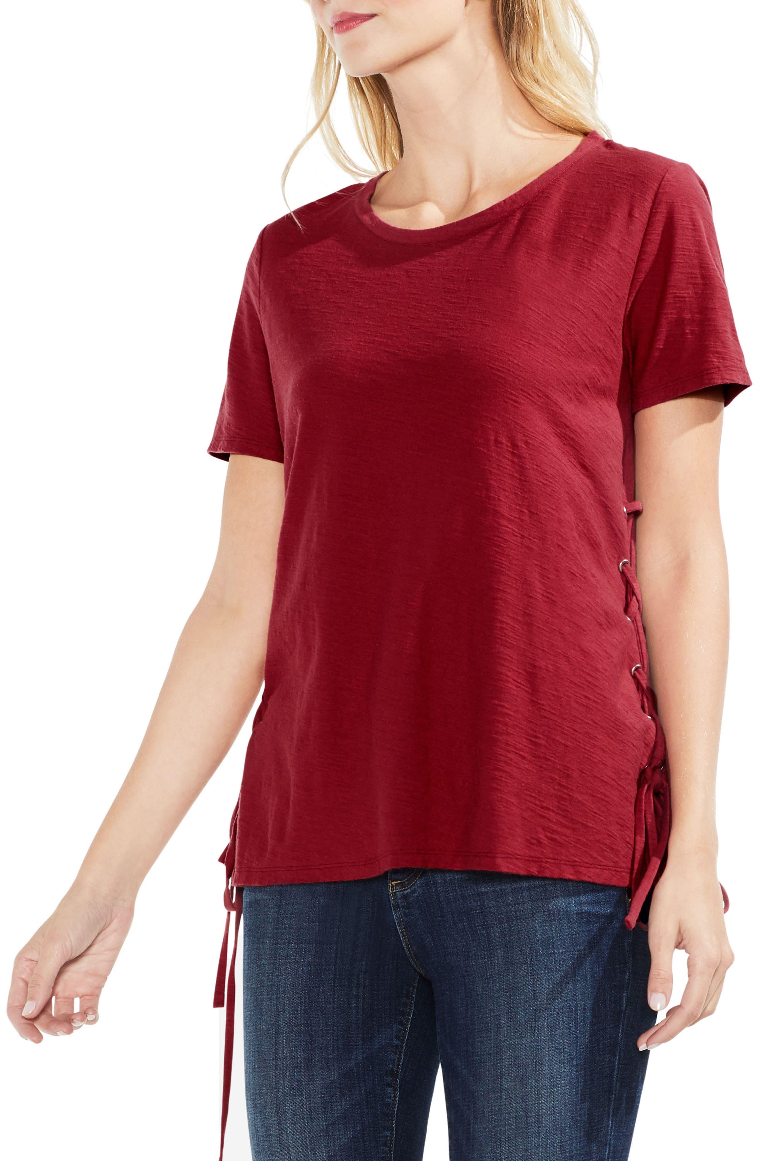 Side Lace-Up Cotton Slub Top,                             Main thumbnail 8, color,