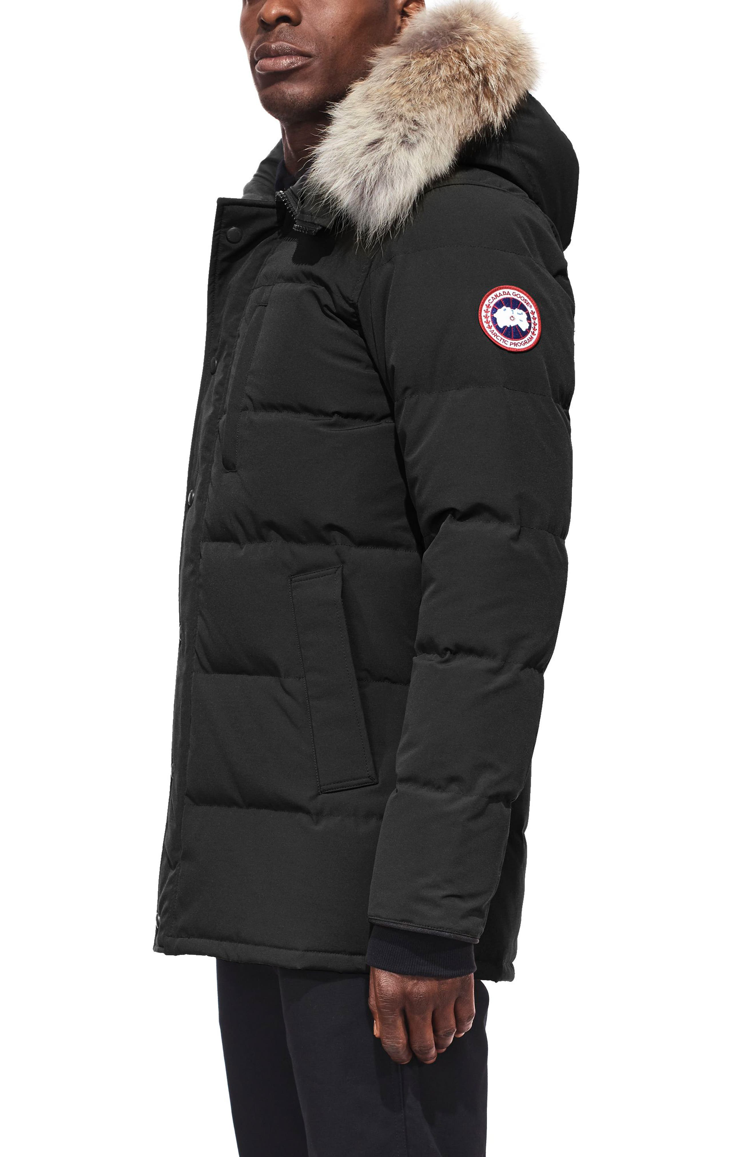 'Carson' Slim Fit Hooded Packable Parka with Genuine Coyote Fur Trim,                             Alternate thumbnail 3, color,                             BLACK