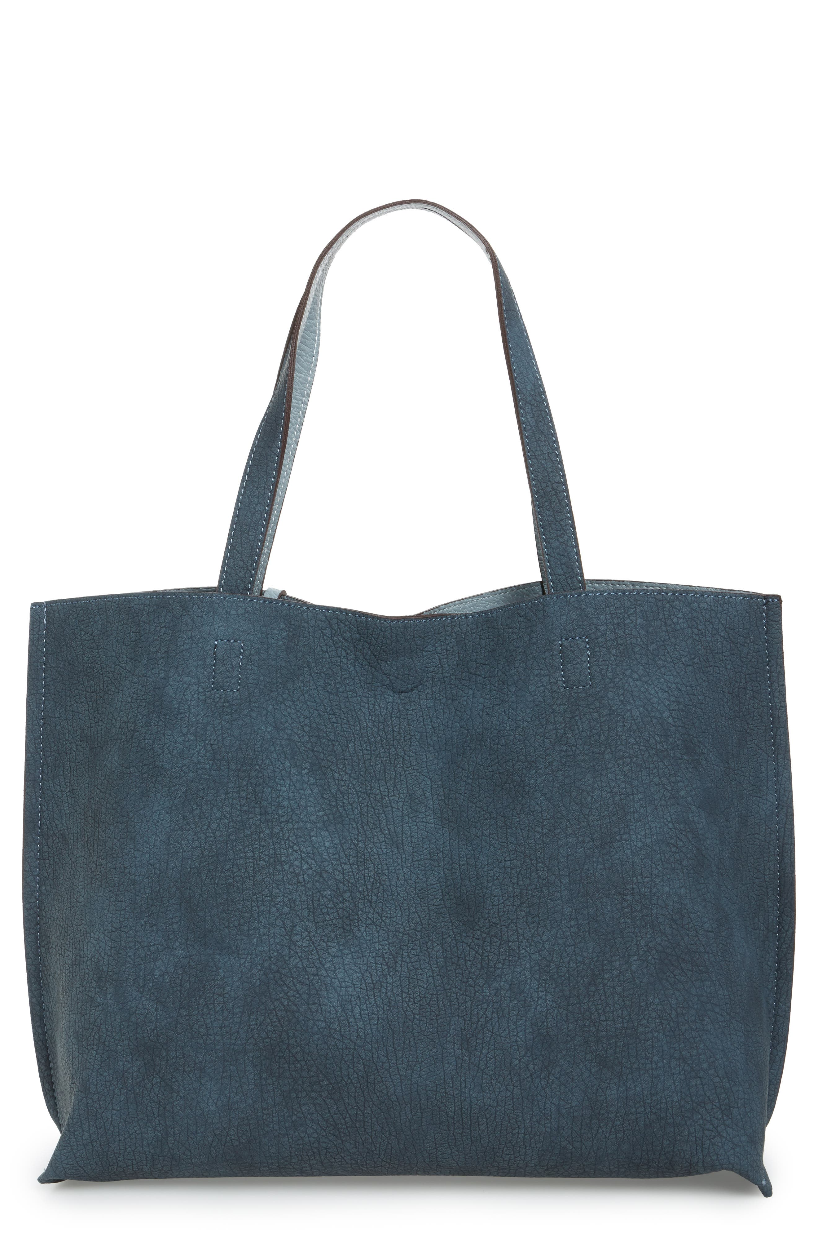 Reversible Faux Leather Tote,                             Main thumbnail 1, color,