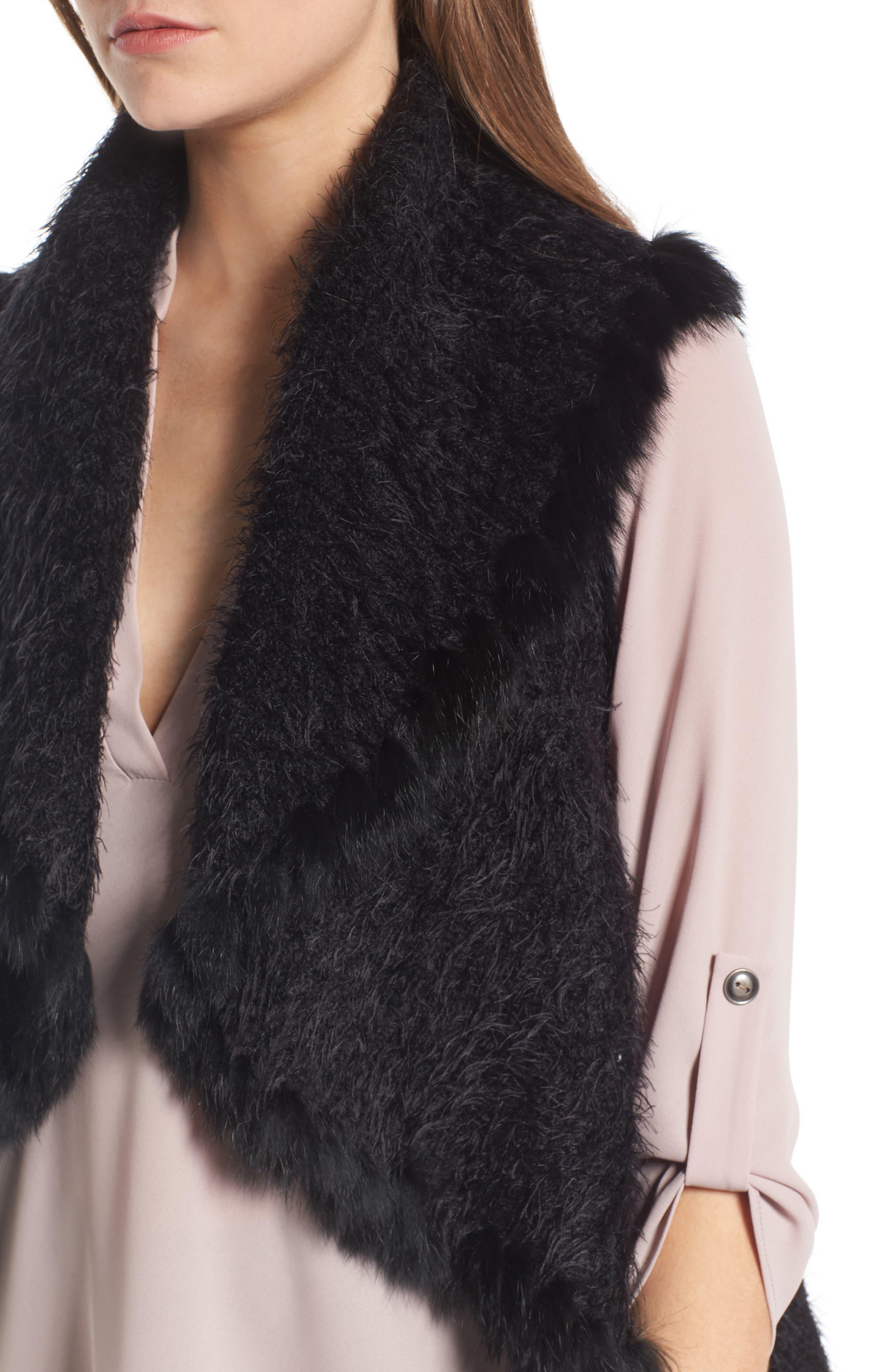 Knit Vest with Genuine Rabbit Fur Trim,                             Alternate thumbnail 10, color,