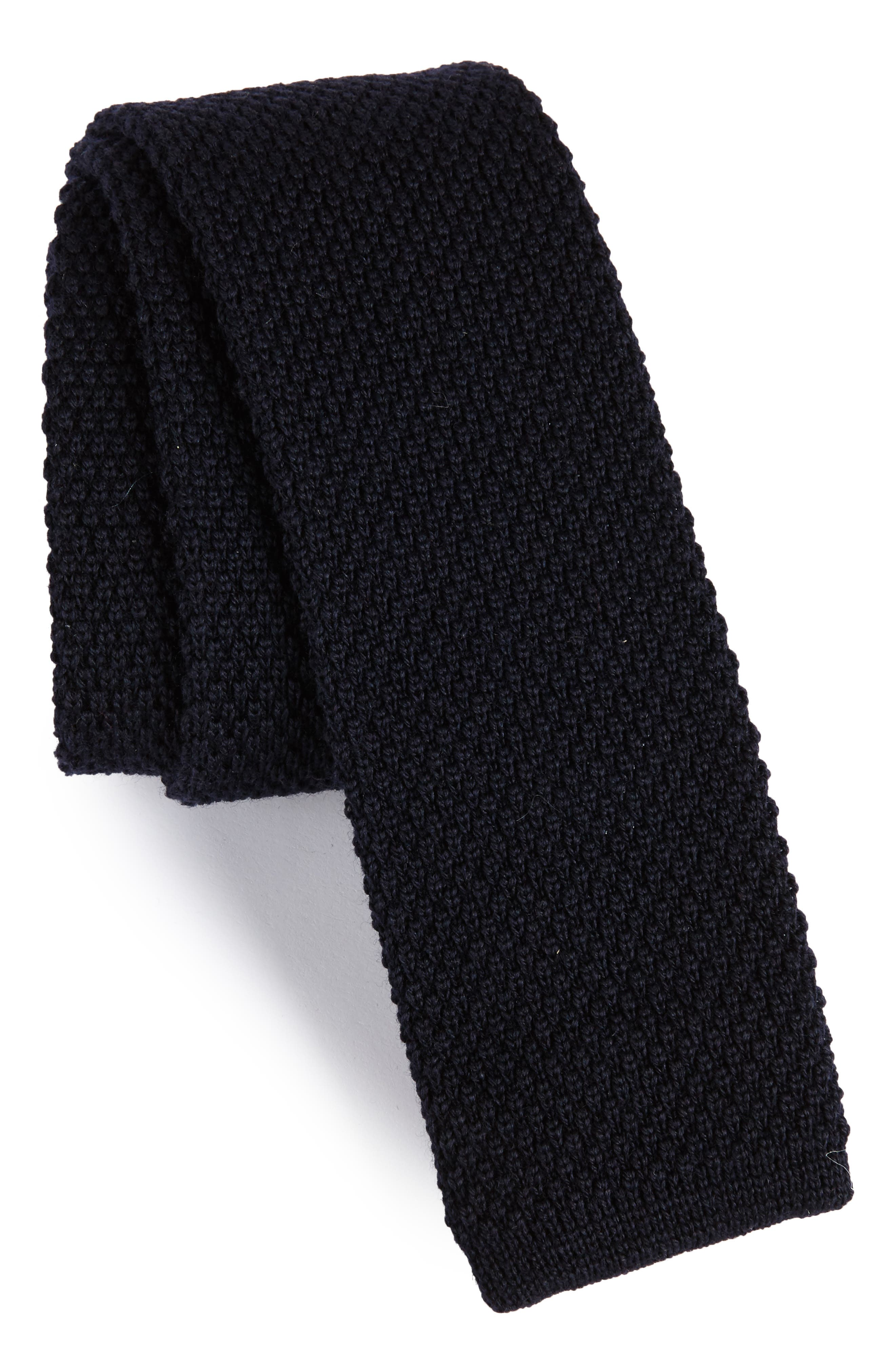Solid Knit Wool Skinny Tie,                             Main thumbnail 3, color,
