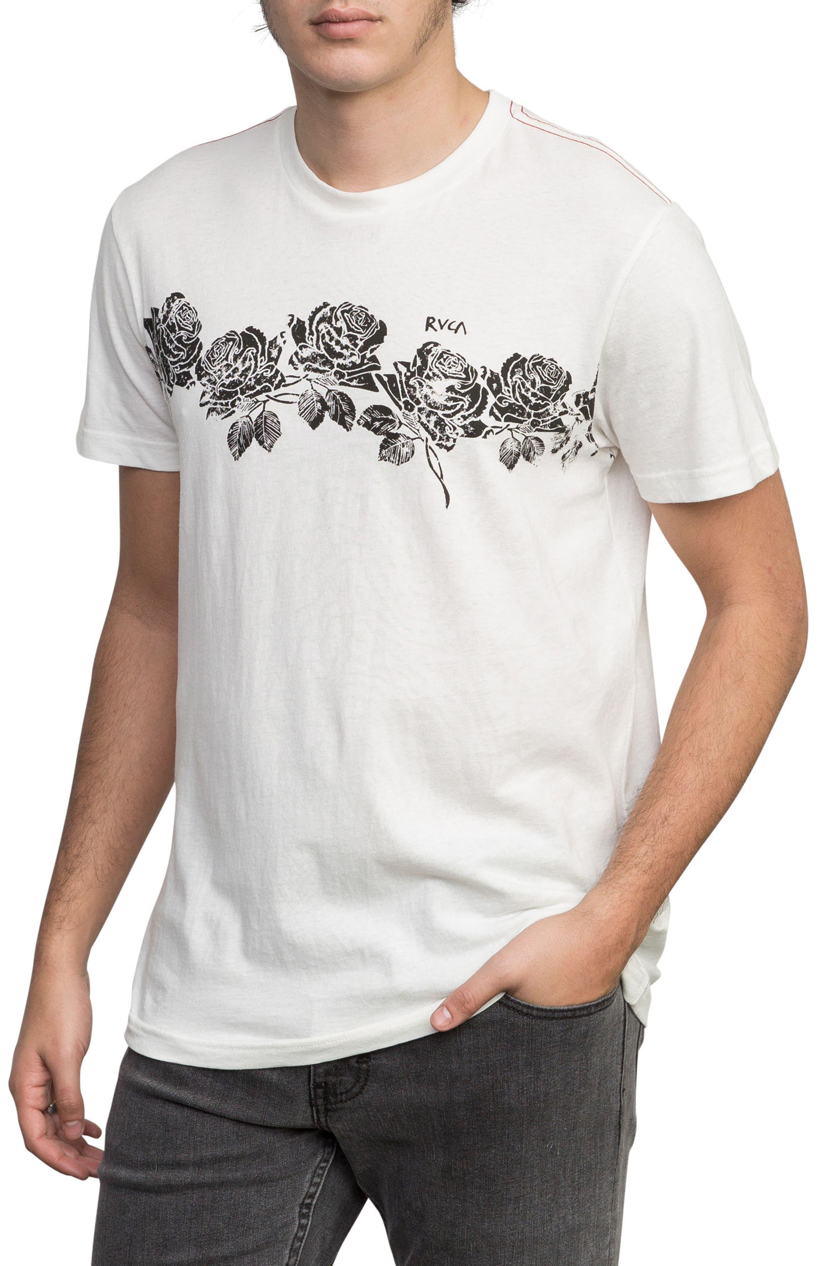 Oblow Roses T-Shirt,                             Alternate thumbnail 3, color,                             ANTIQUE WHITE