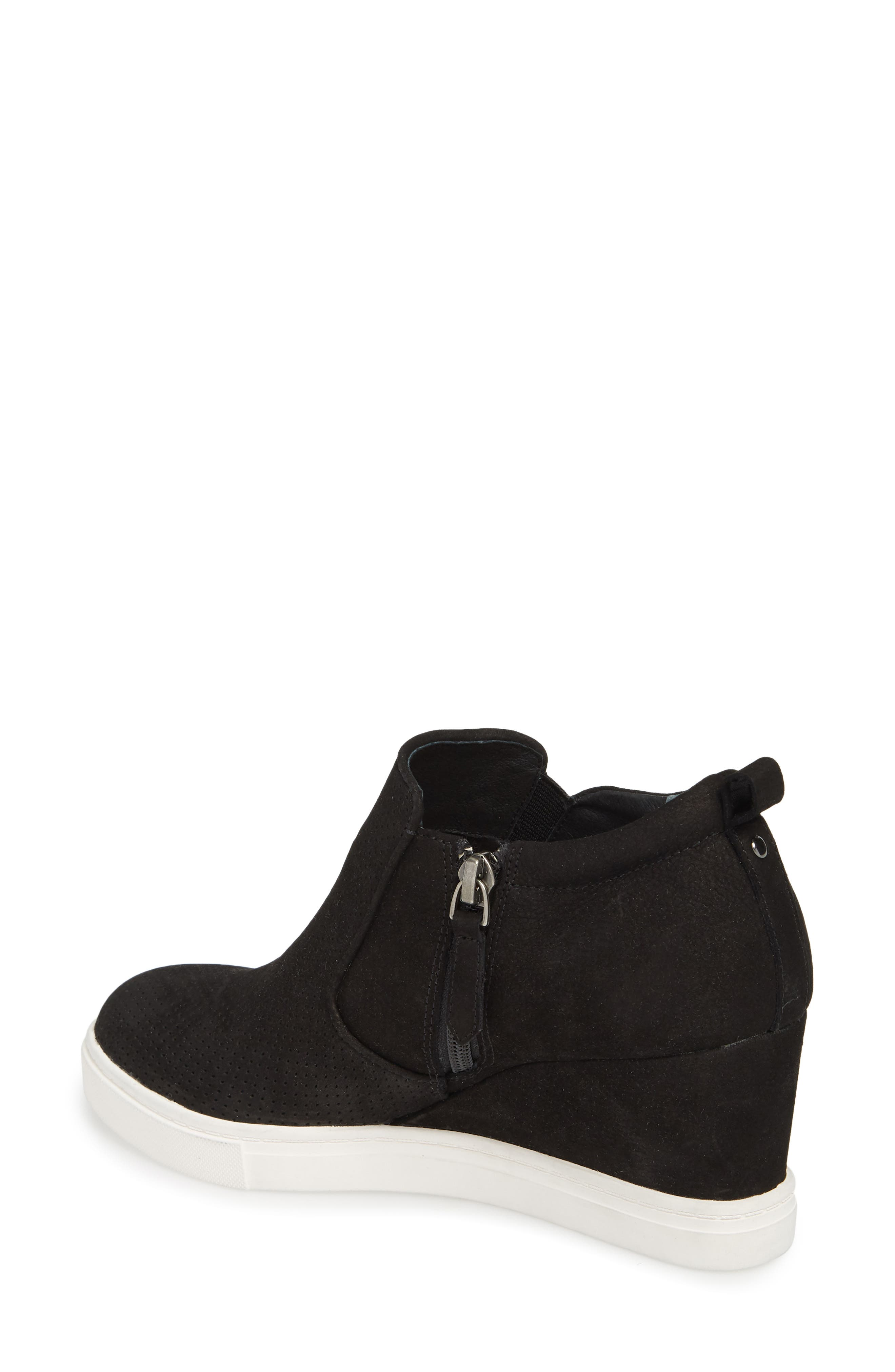 Aiden Wedge Sneaker,                             Alternate thumbnail 2, color,                             BLACK PERFORATED LEATHER