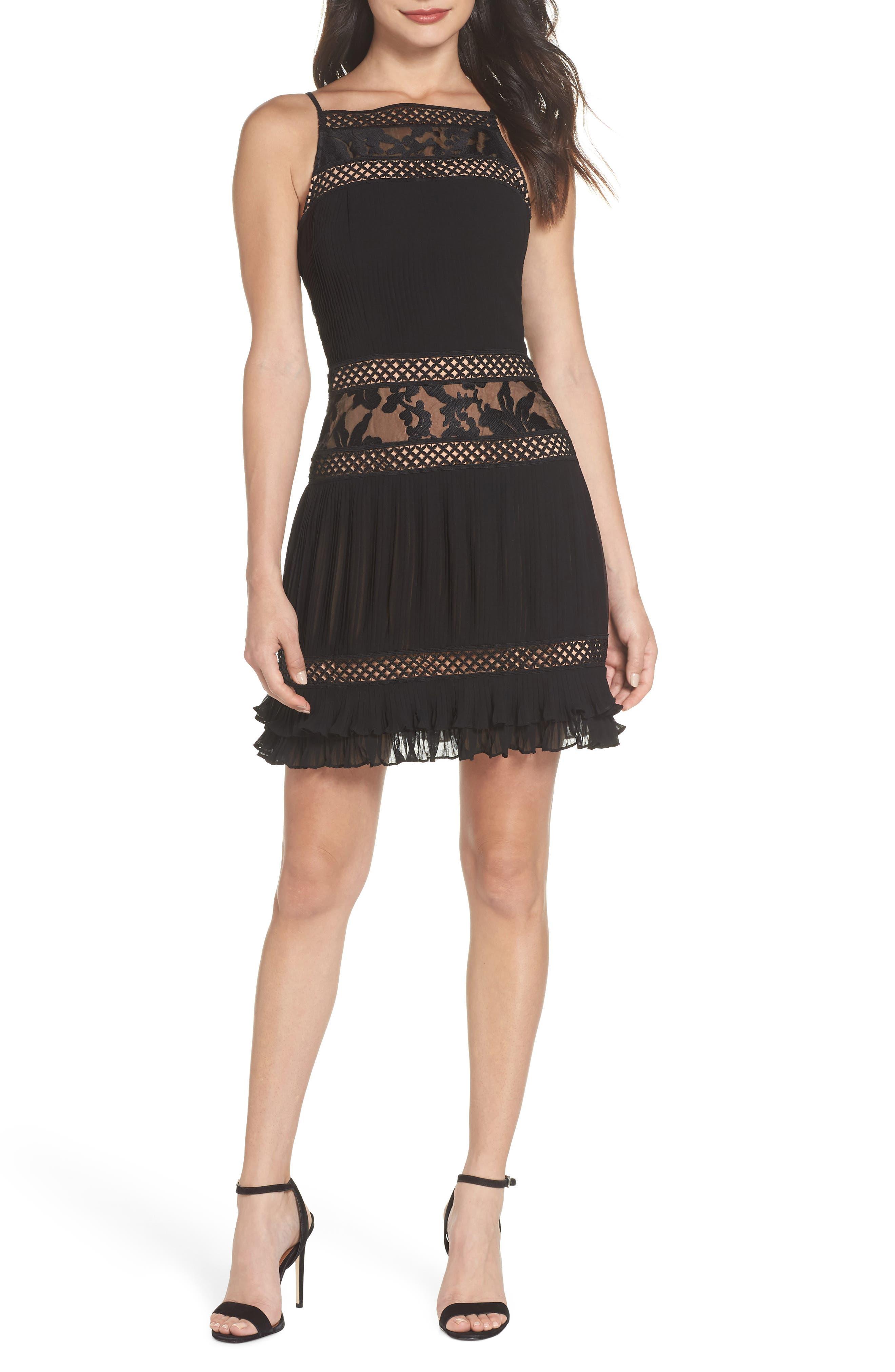 ADELYN RAE Nia Pleated A-Line Dress in Black