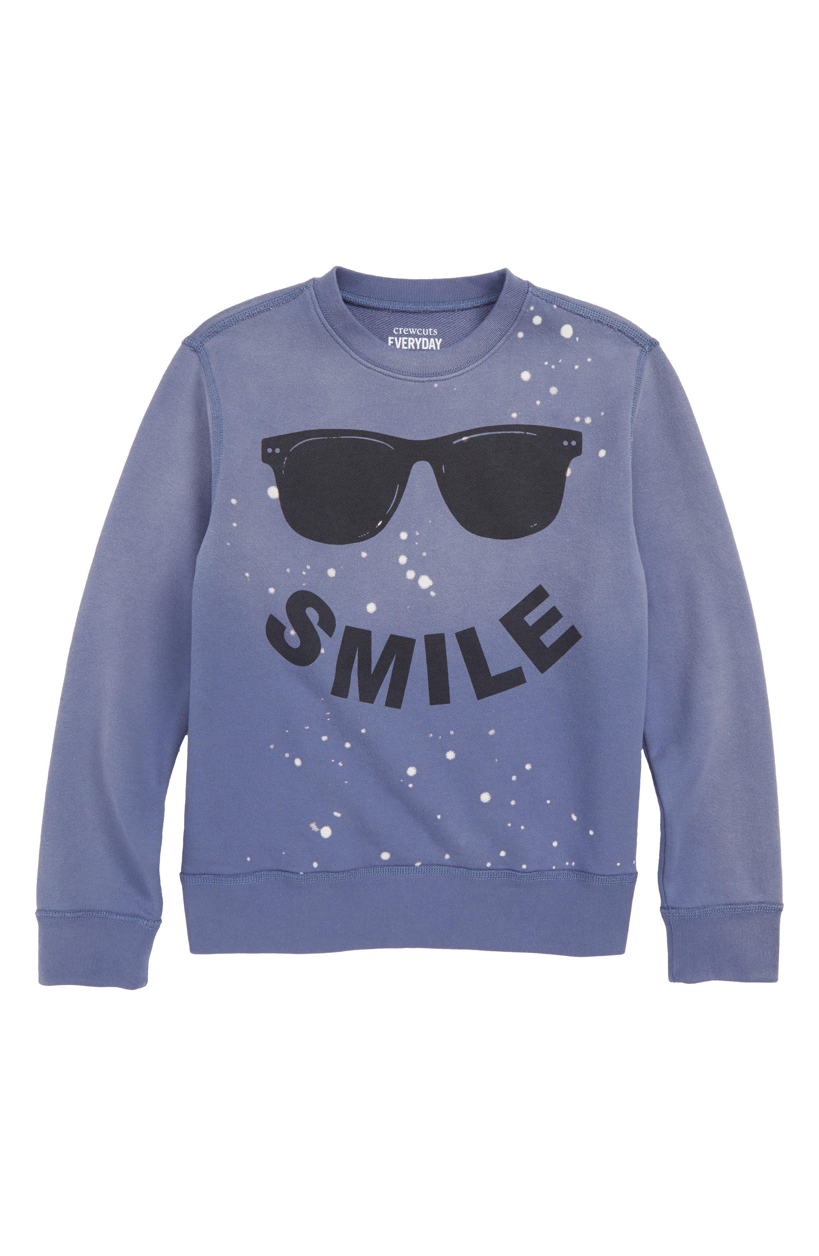CREWCUTS BY J.CREW Smile Sweatshirt, Main, color, TWILIGHT