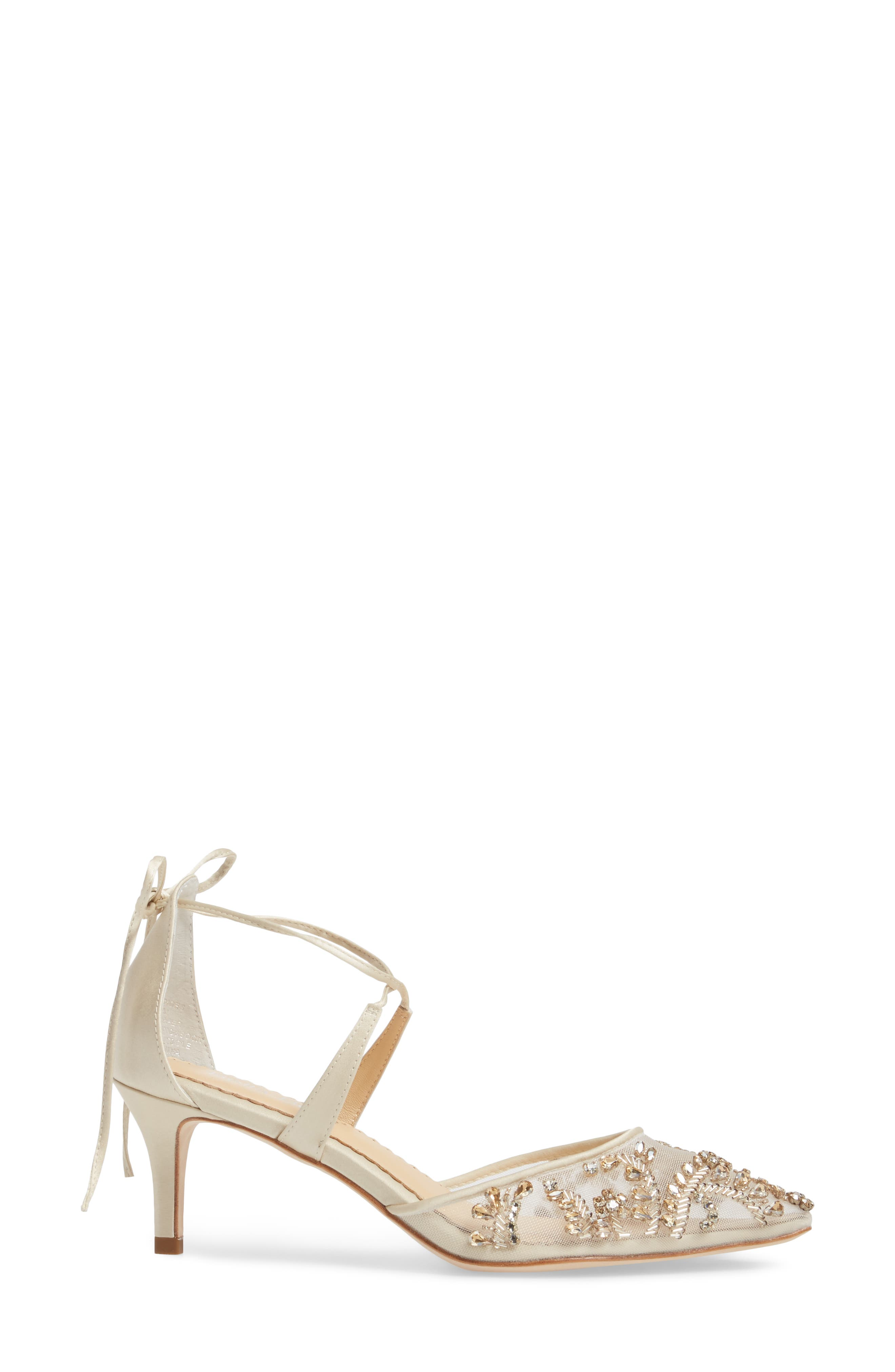 Frances Embellished Kitten Heel Pump,                             Alternate thumbnail 3, color,                             CHAMPAGNE SILK