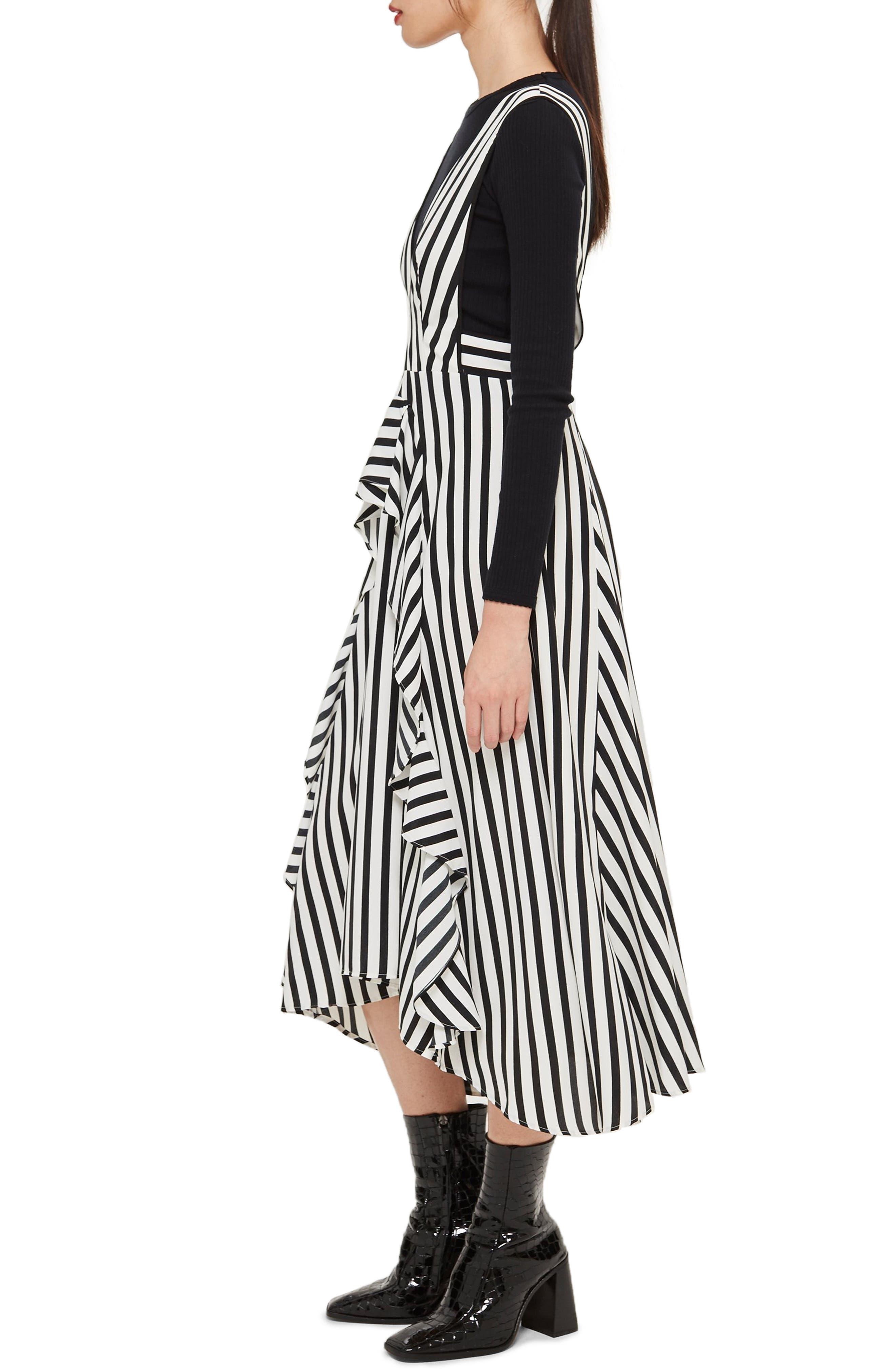 Pinafore Midi Dress,                             Alternate thumbnail 3, color,                             WHITE MULTI