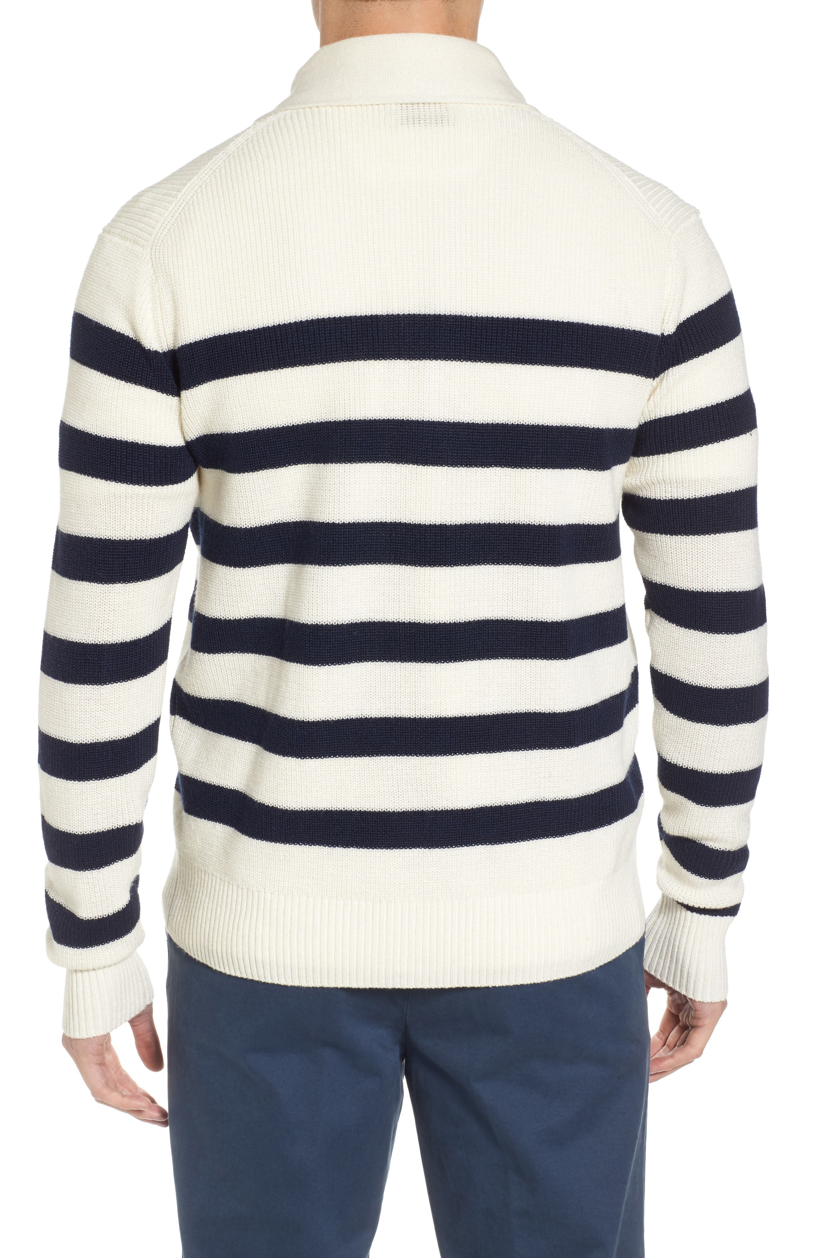 Crown Cool Sailor Stripe Merino Wool & Linen Cardigan,                             Alternate thumbnail 2, color,                             400