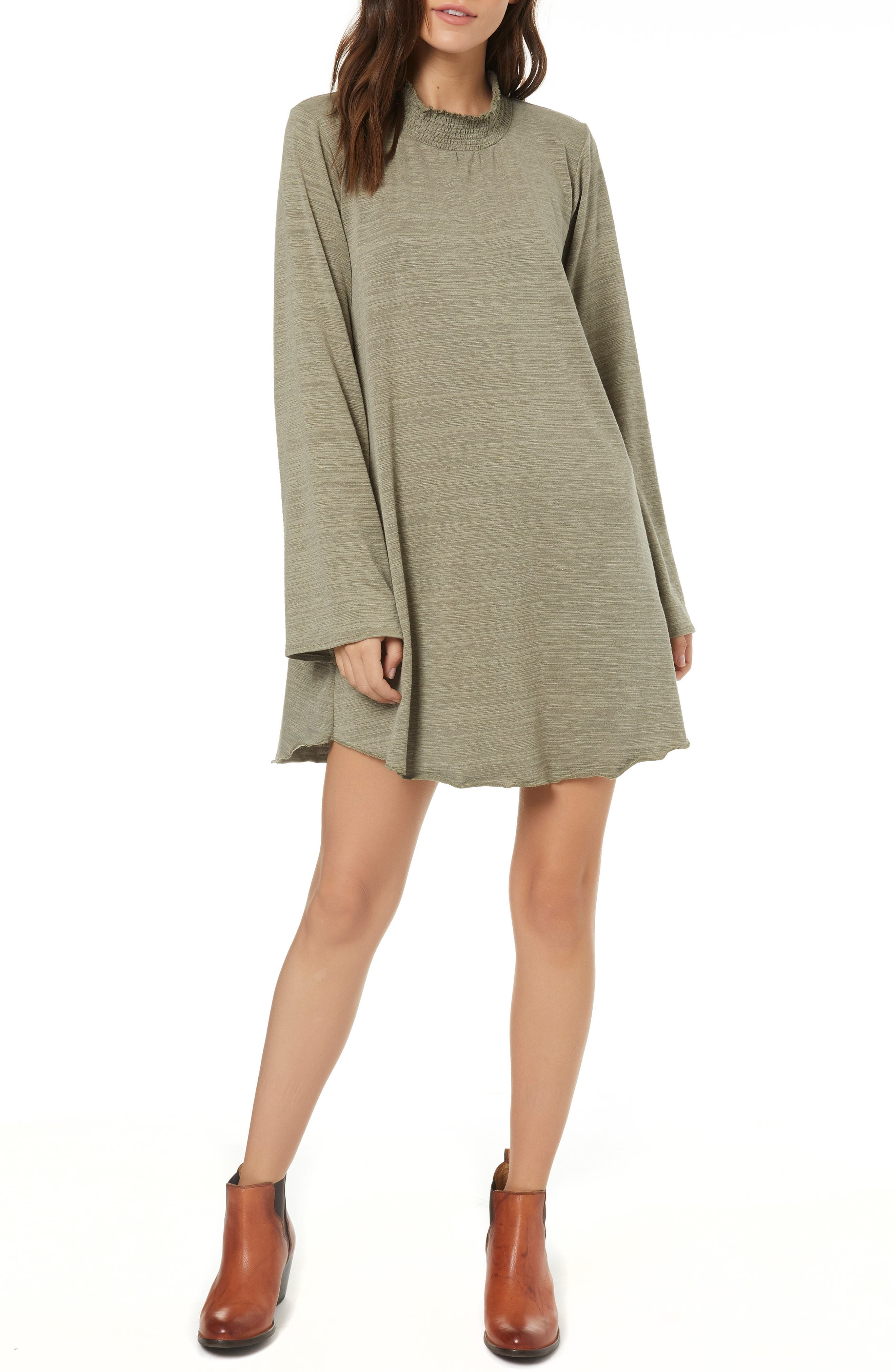 Rhodes Bell Sleeve Swing Dress,                         Main,                         color, OLIVINE