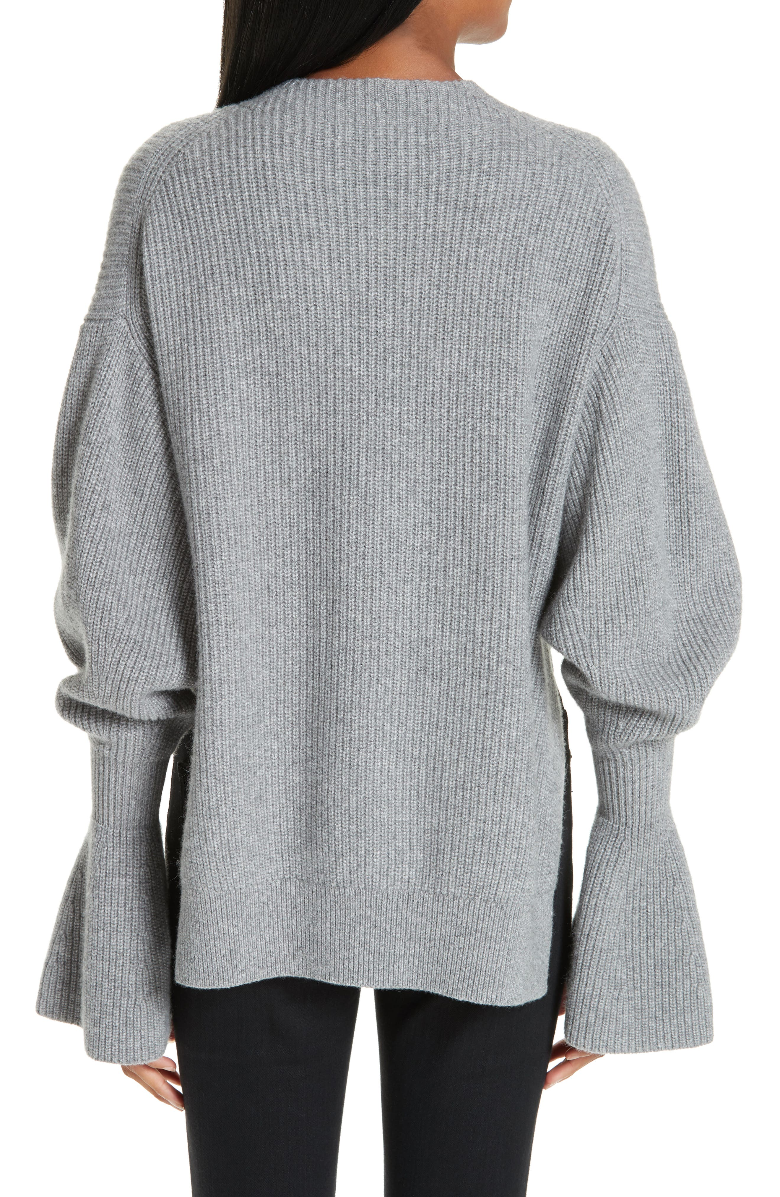Side Split Merino Wool & Cashmere Blend Sweater,                             Alternate thumbnail 2, color,                             HEATHER GREY