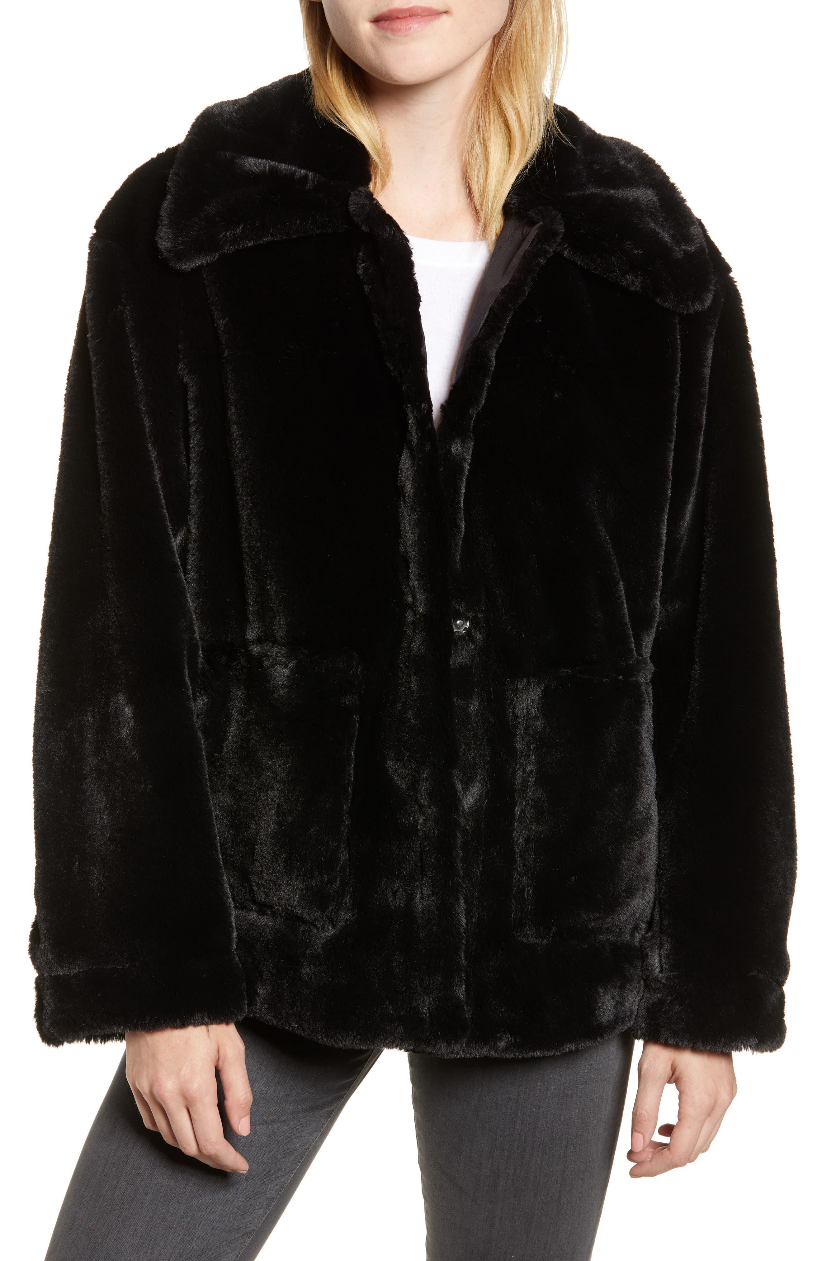 Salma Faux Fur Jacket,                             Main thumbnail 1, color,                             BLACK