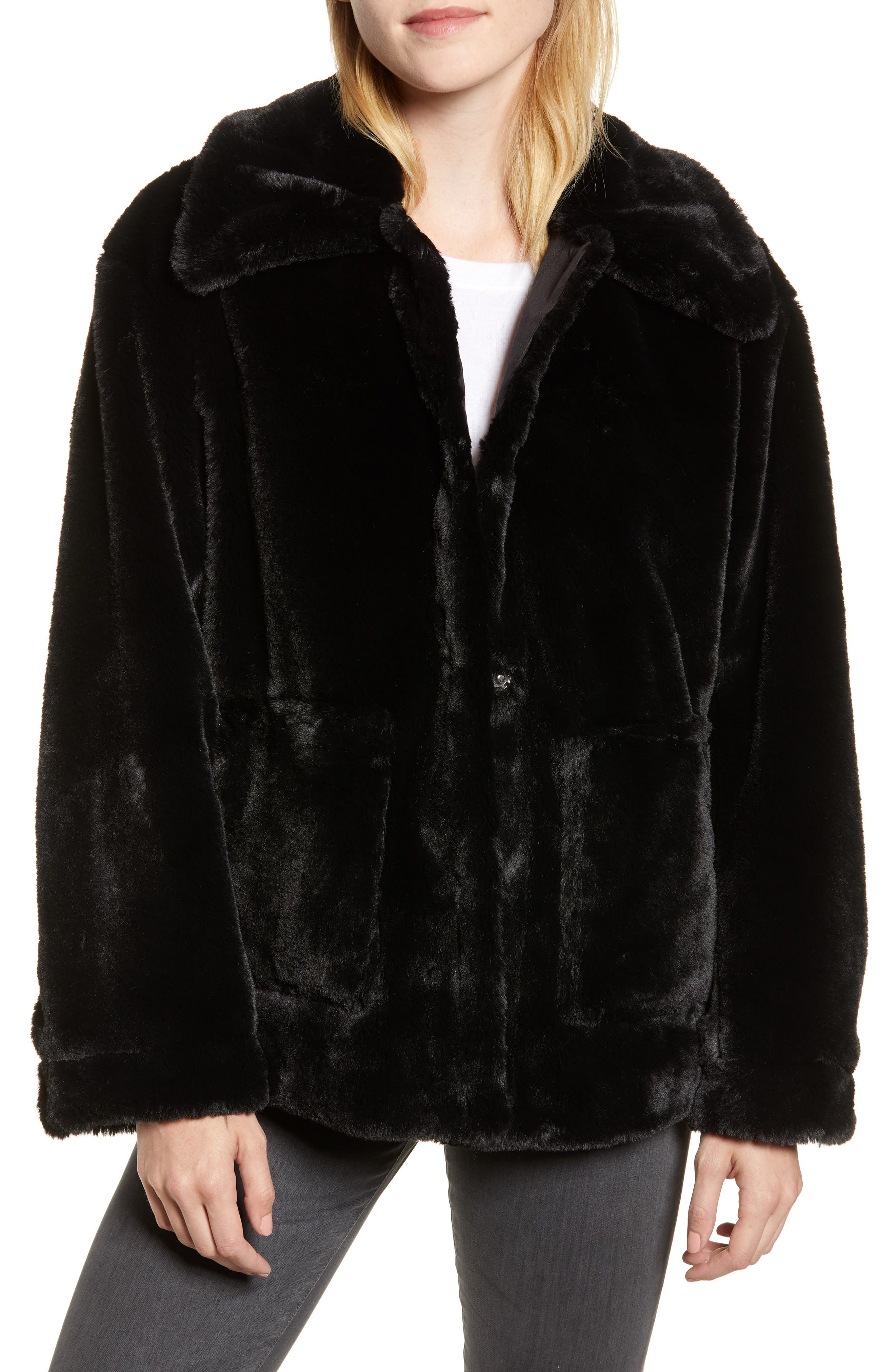 Salma Faux Fur Jacket,                         Main,                         color, BLACK