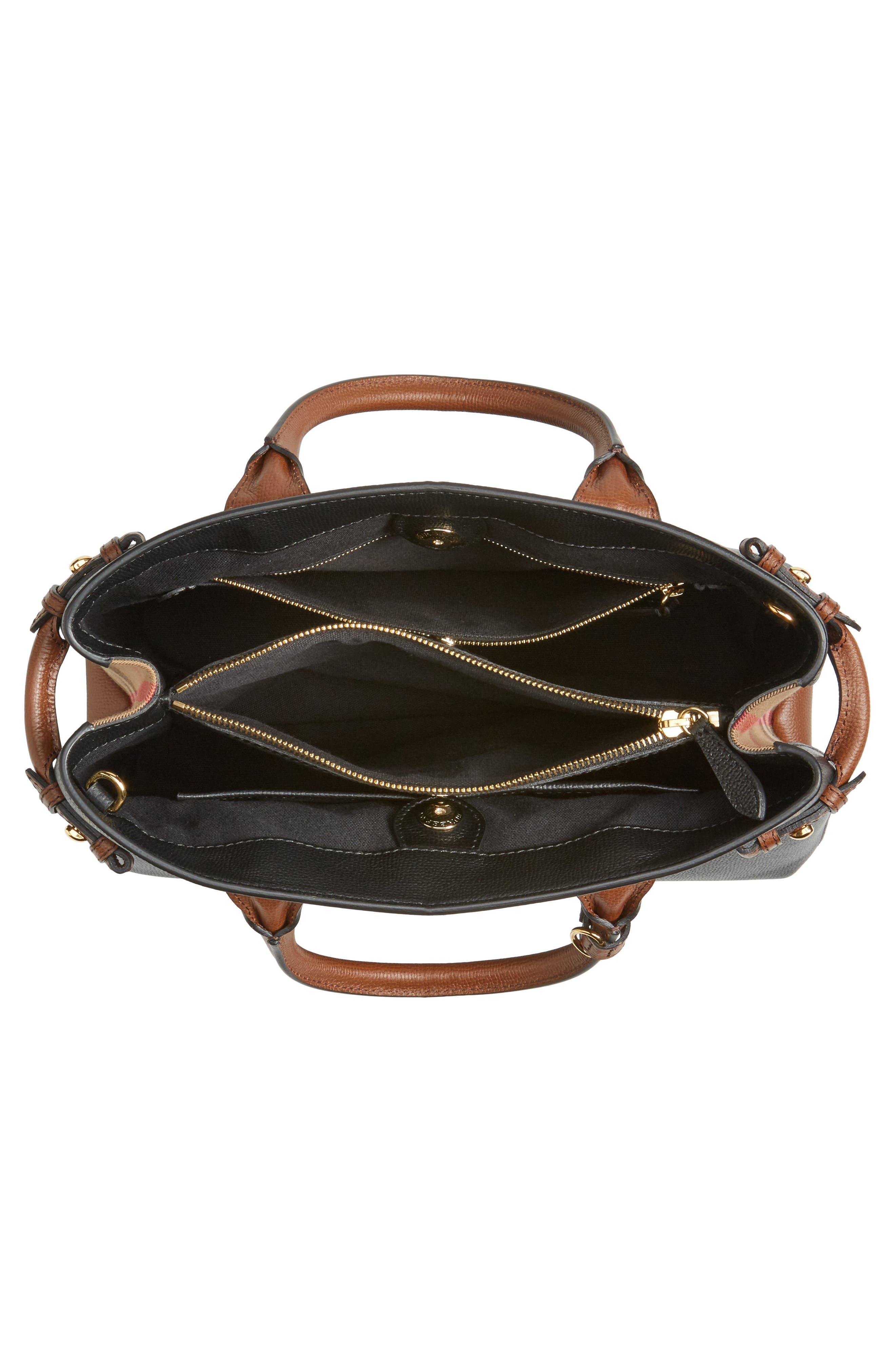 Medium Banner – Derby House Check Leather Satchel,                             Alternate thumbnail 4, color,                             001