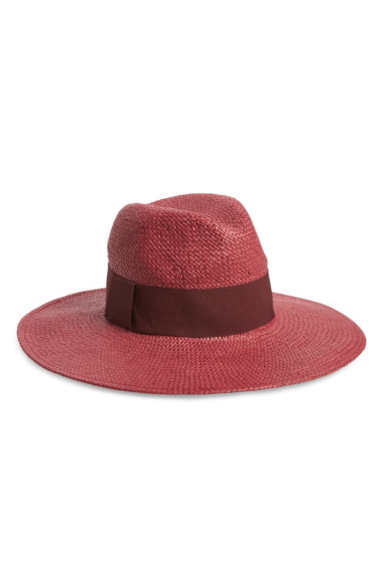 HALOGEN<SUP>®</SUP> Fashion Woven Panama Hat, Main, color, BURGUNDY