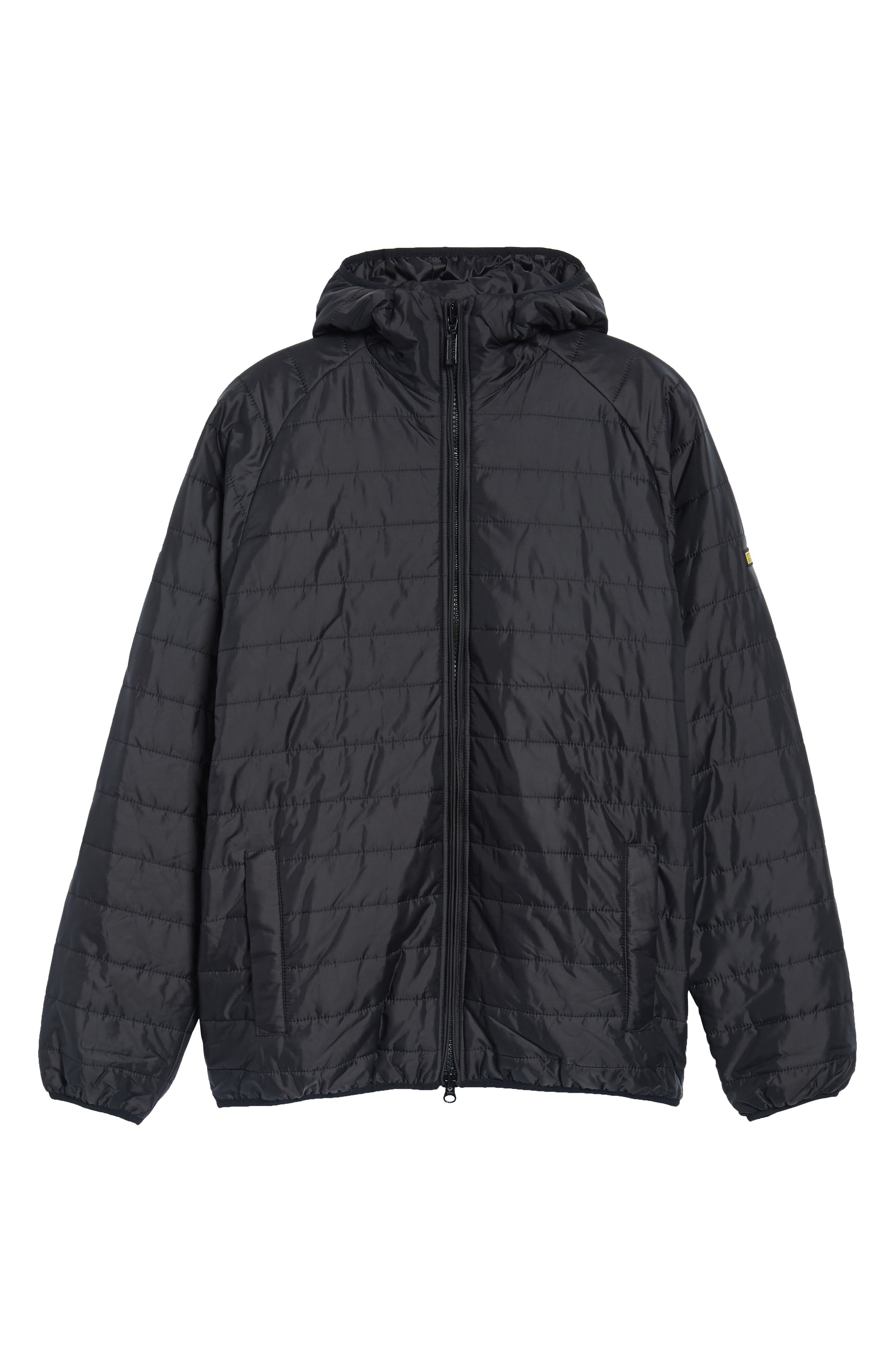 International Level Slim Fit Quilted Hooded Jacket,                             Alternate thumbnail 5, color,                             001