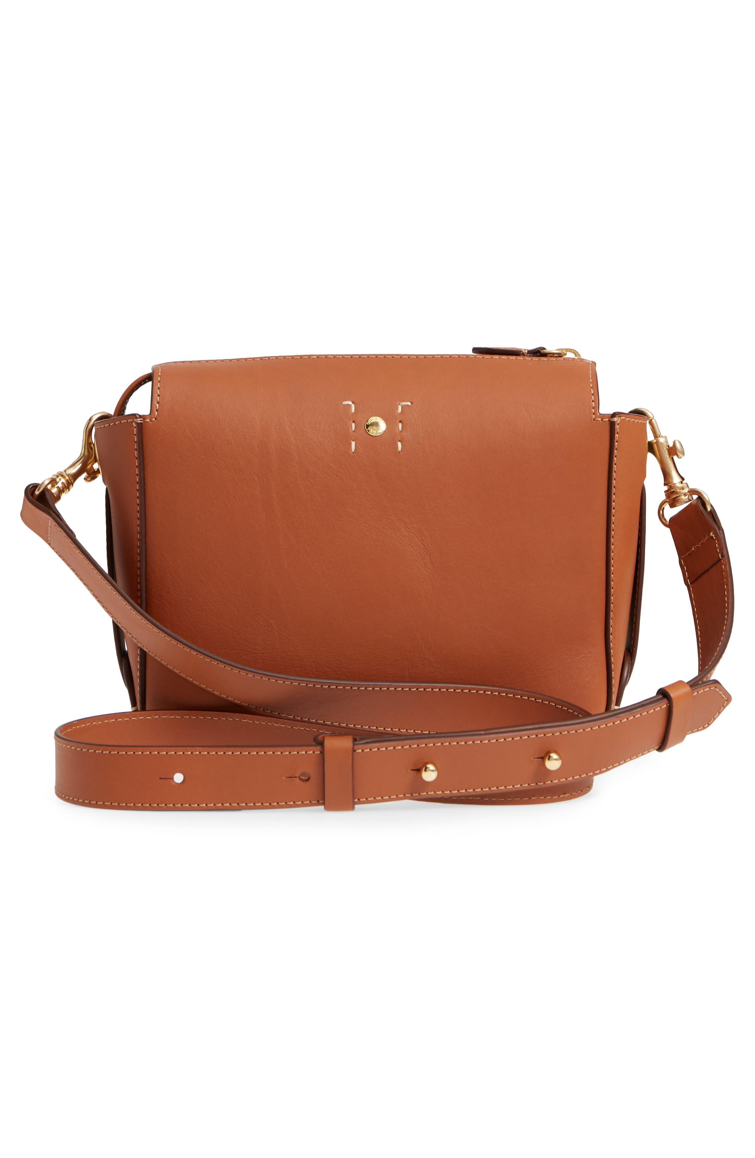 Tilley Leather Crossbody Bag,                             Alternate thumbnail 3, color,                             CHESTNUT