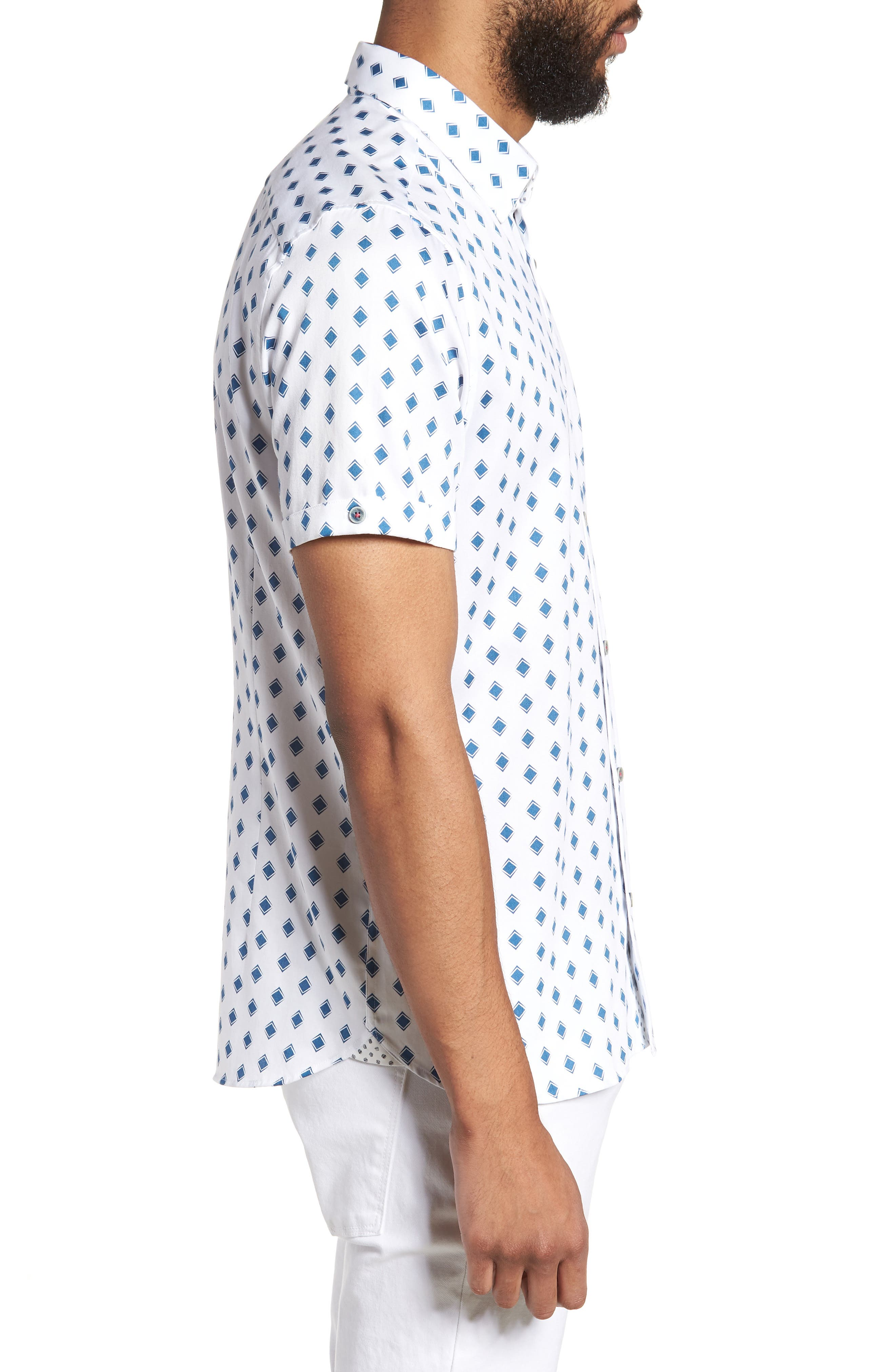 Sineral Trim Fit Short Sleeve Sport Shirt,                             Alternate thumbnail 3, color,                             100
