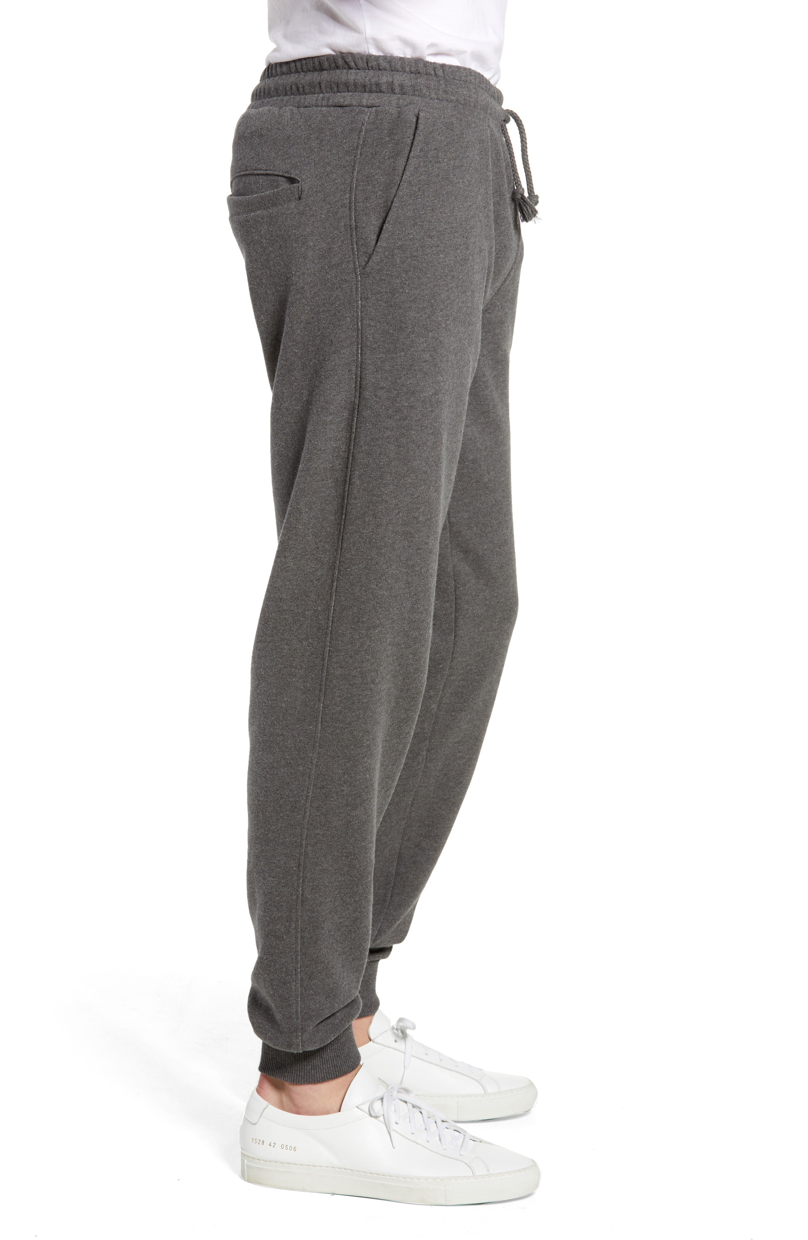 KnowledgeCotton Mélange Sweatpants,                             Alternate thumbnail 3, color,                             GREY MELANGE