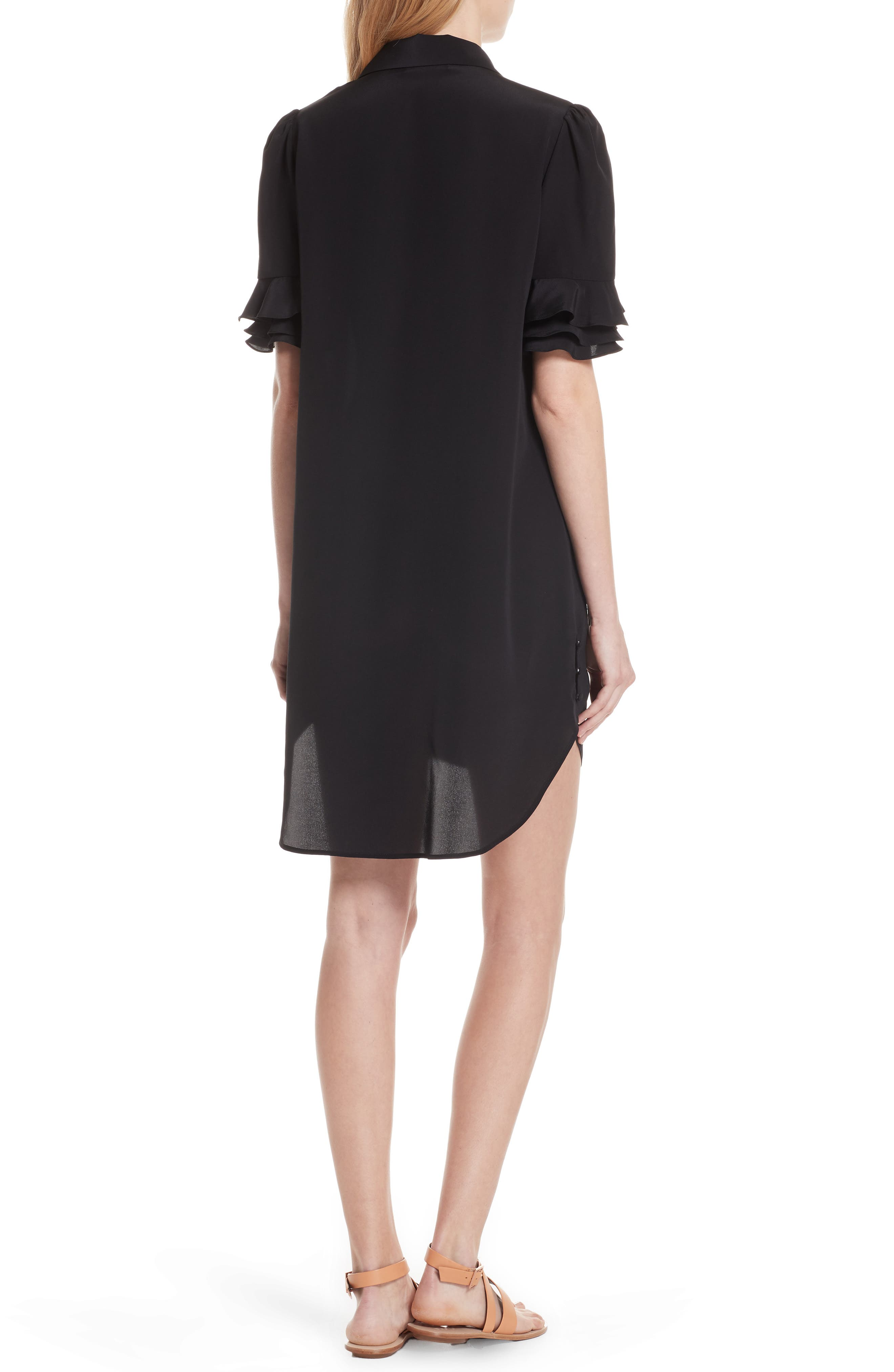 Ruffle Sleeve Silk Dress,                             Alternate thumbnail 2, color,                             001