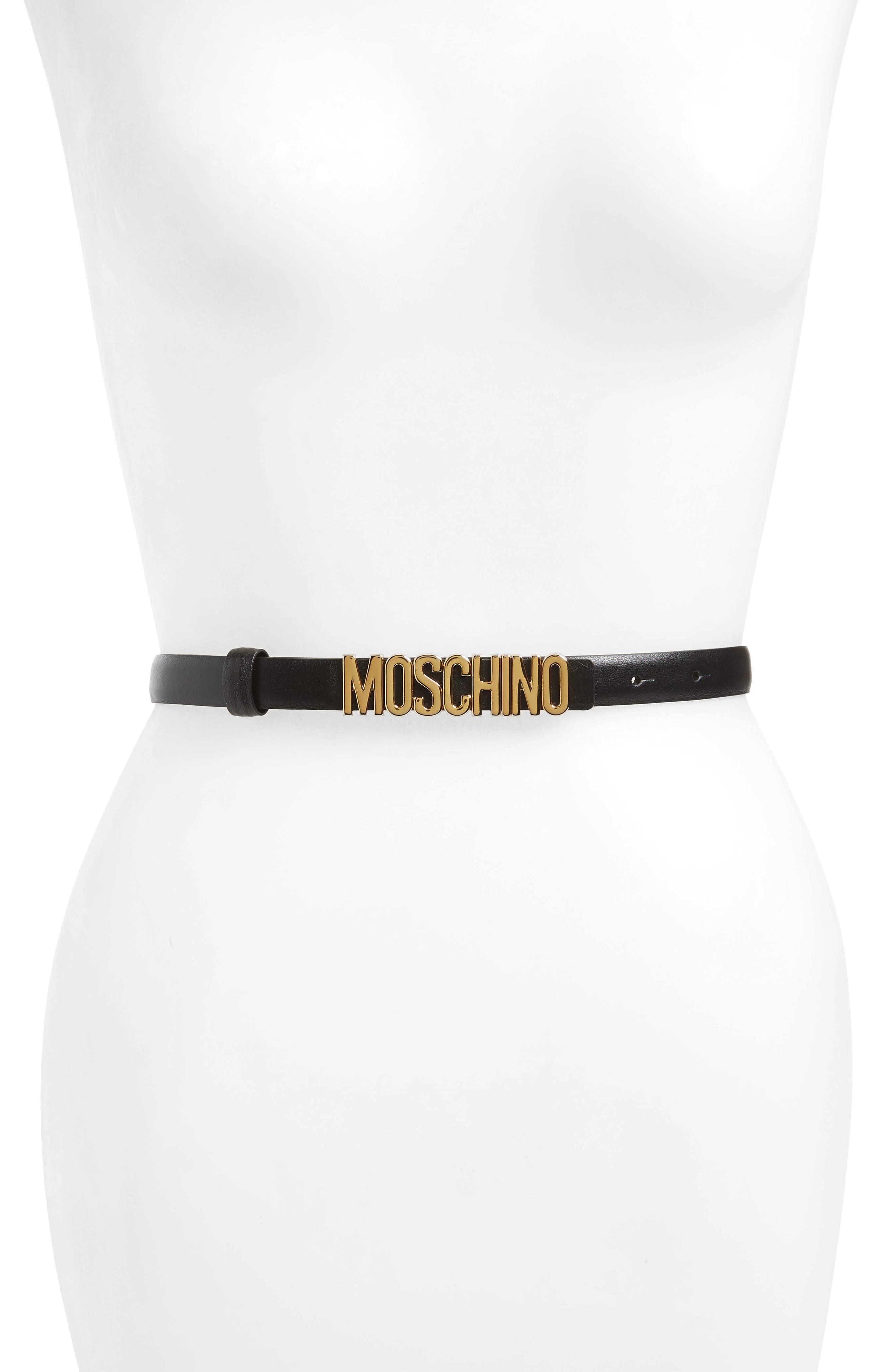 Moschino Logo Calfskin Leather Skinny Belt, Black/ Gold