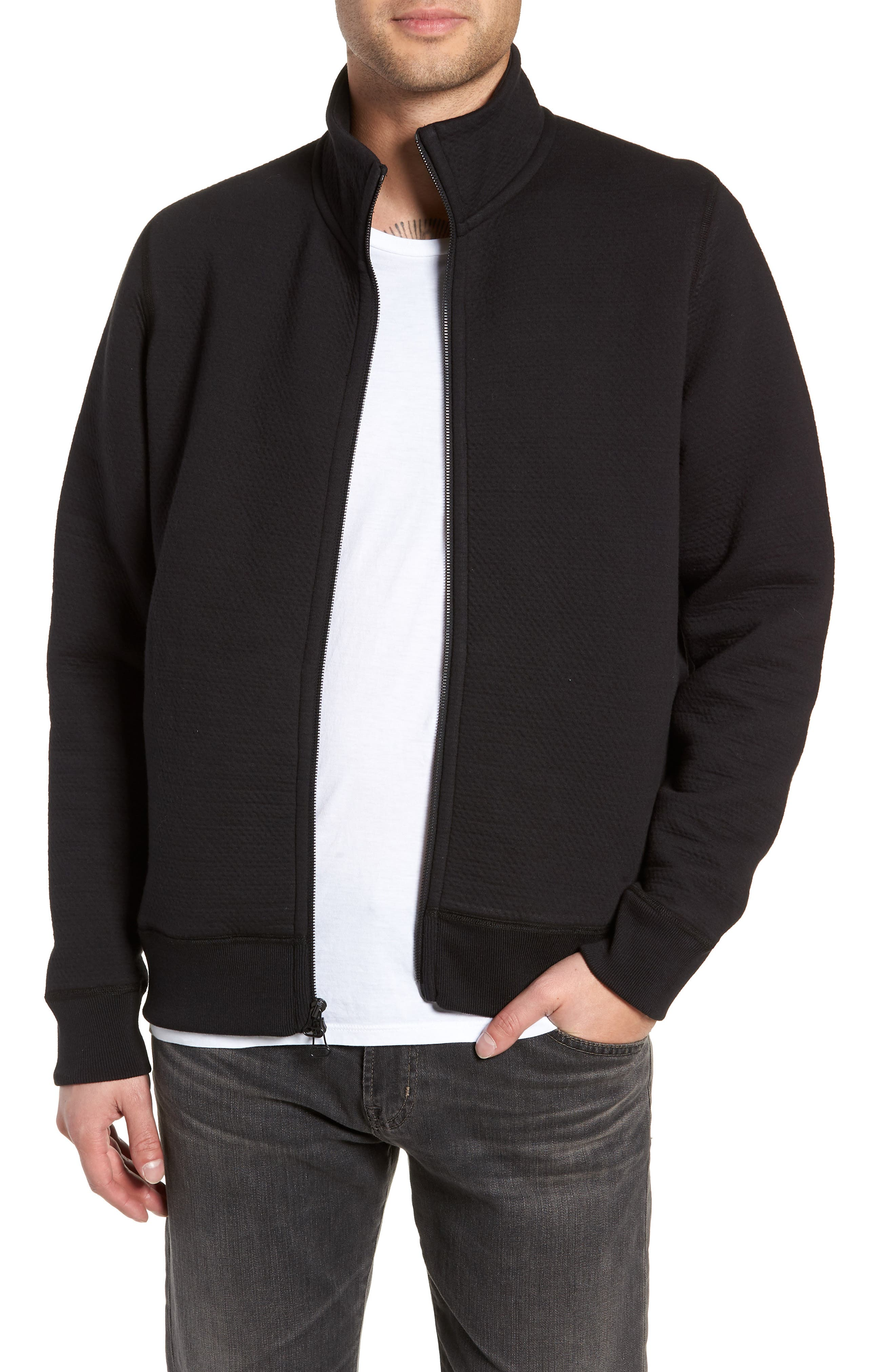 Cabin Fleece Jacket,                         Main,                         color, BLACK