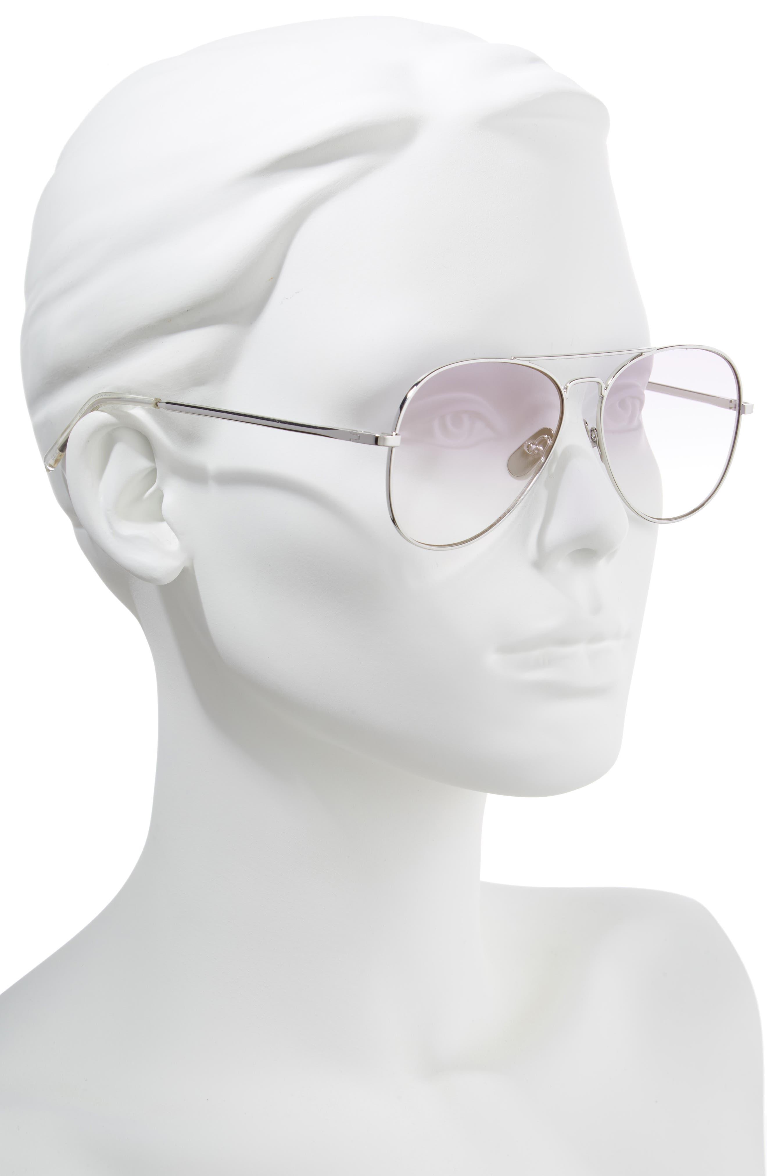 Noosa 55mm Metal Aviator Sunglasses,                             Alternate thumbnail 2, color,                             SILVER