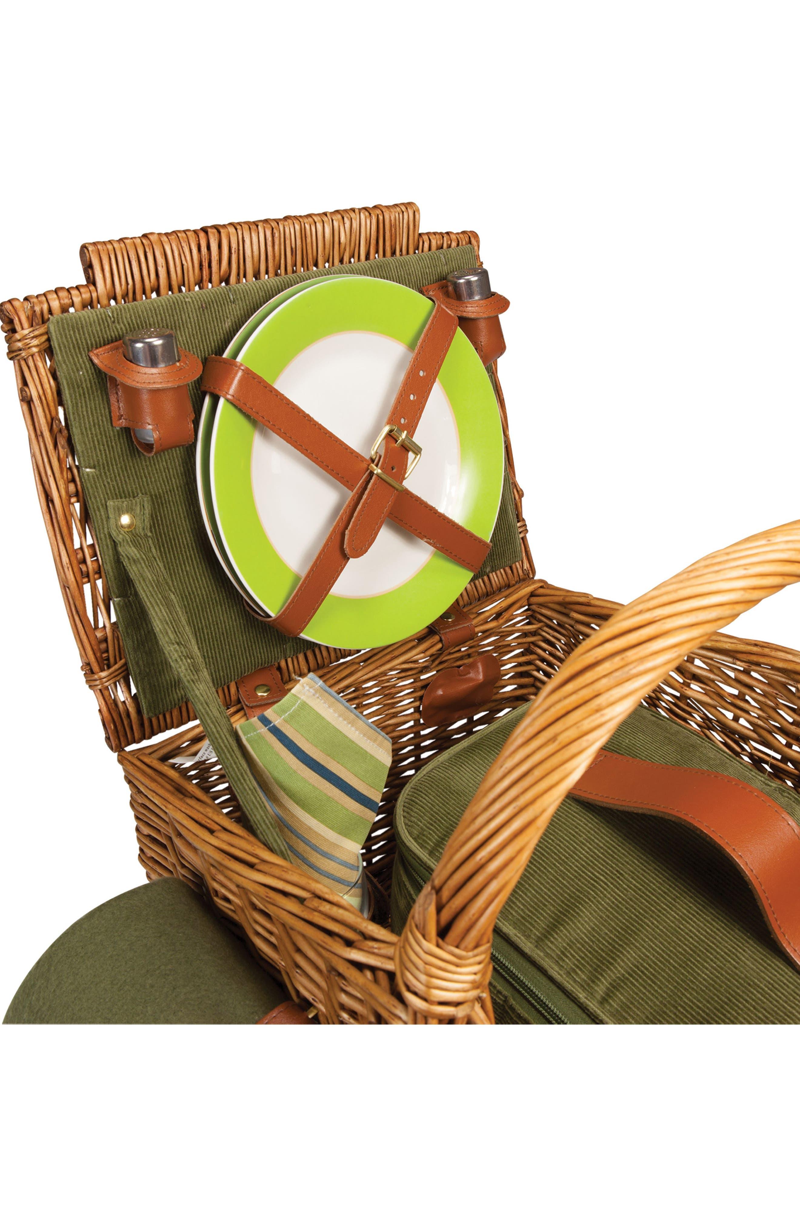'Somerset' Wicker Picnic Basket,                             Alternate thumbnail 5, color,