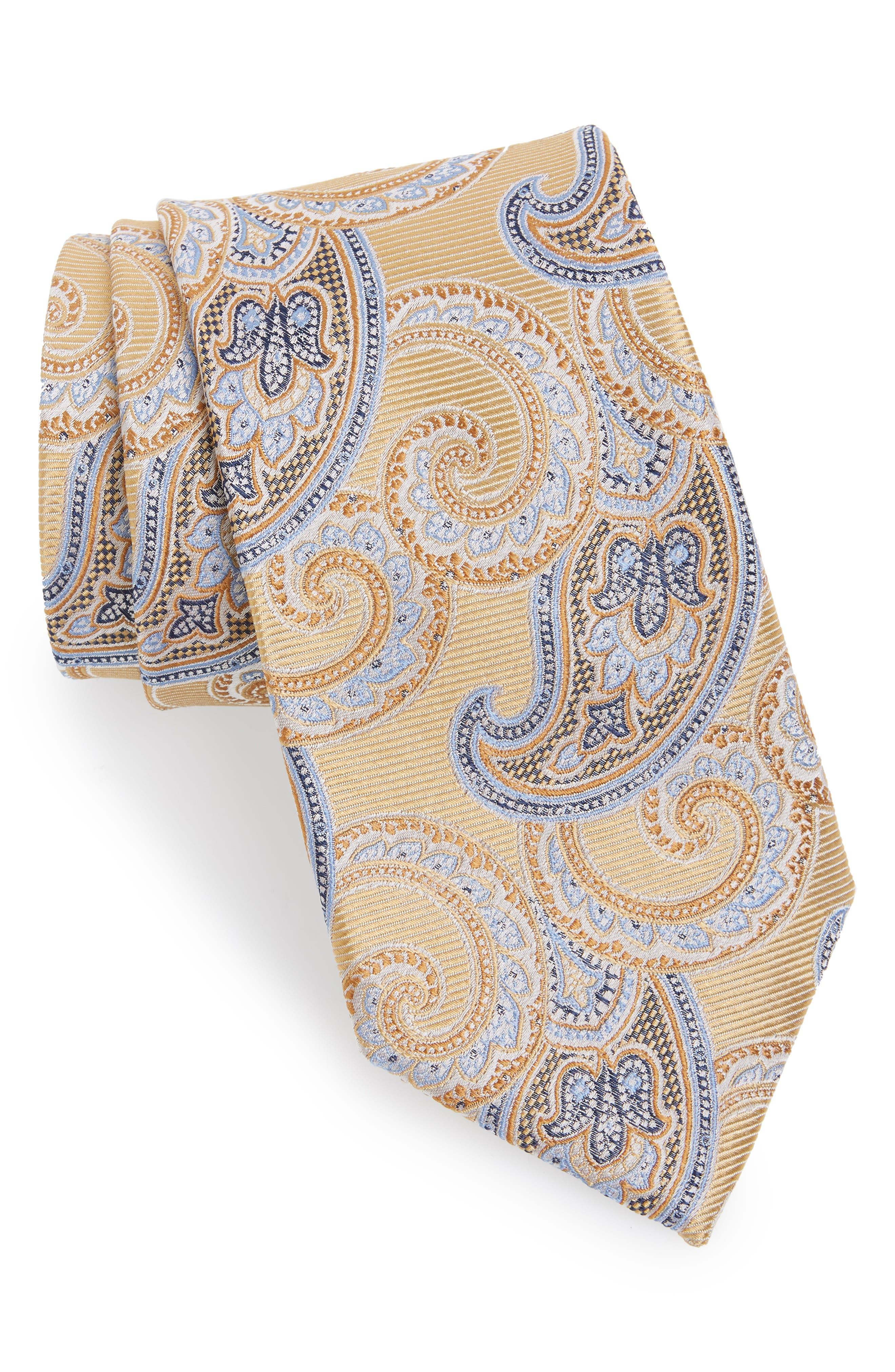 Paisley Silk Tie,                             Main thumbnail 1, color,                             YELLOW