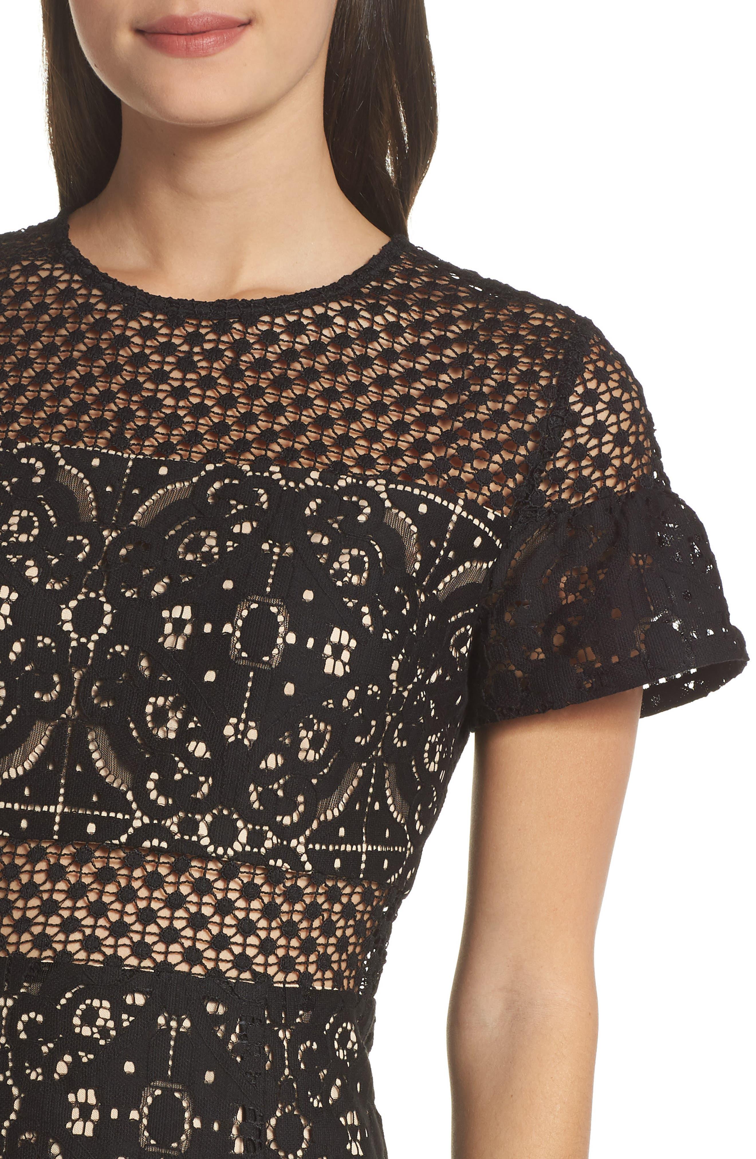 Brittney Ruffle Sleeve Lace Dress,                             Alternate thumbnail 4, color,                             BLACK