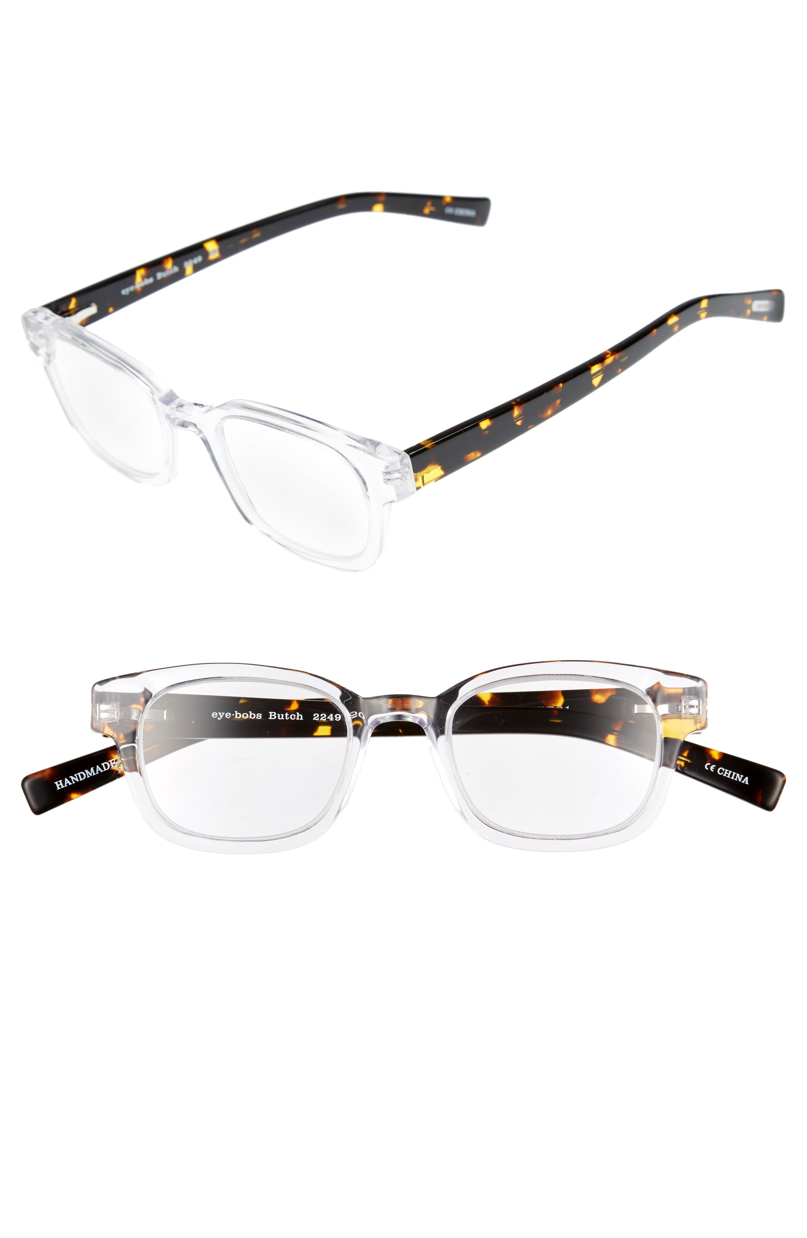 Butch 45mm Reading Glasses,                             Main thumbnail 1, color,                             CRYSTAL WITH TORTOISE