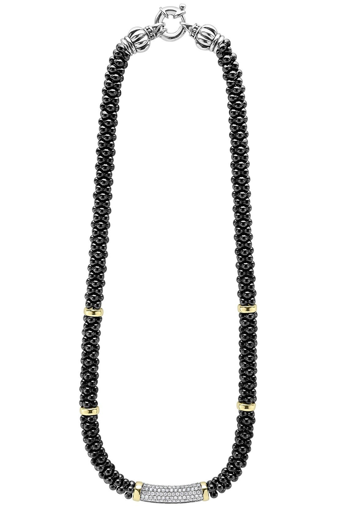 LAGOS,                             'Black Caviar' 7mm Beaded Diamond Bar Necklace,                             Alternate thumbnail 3, color,                             001