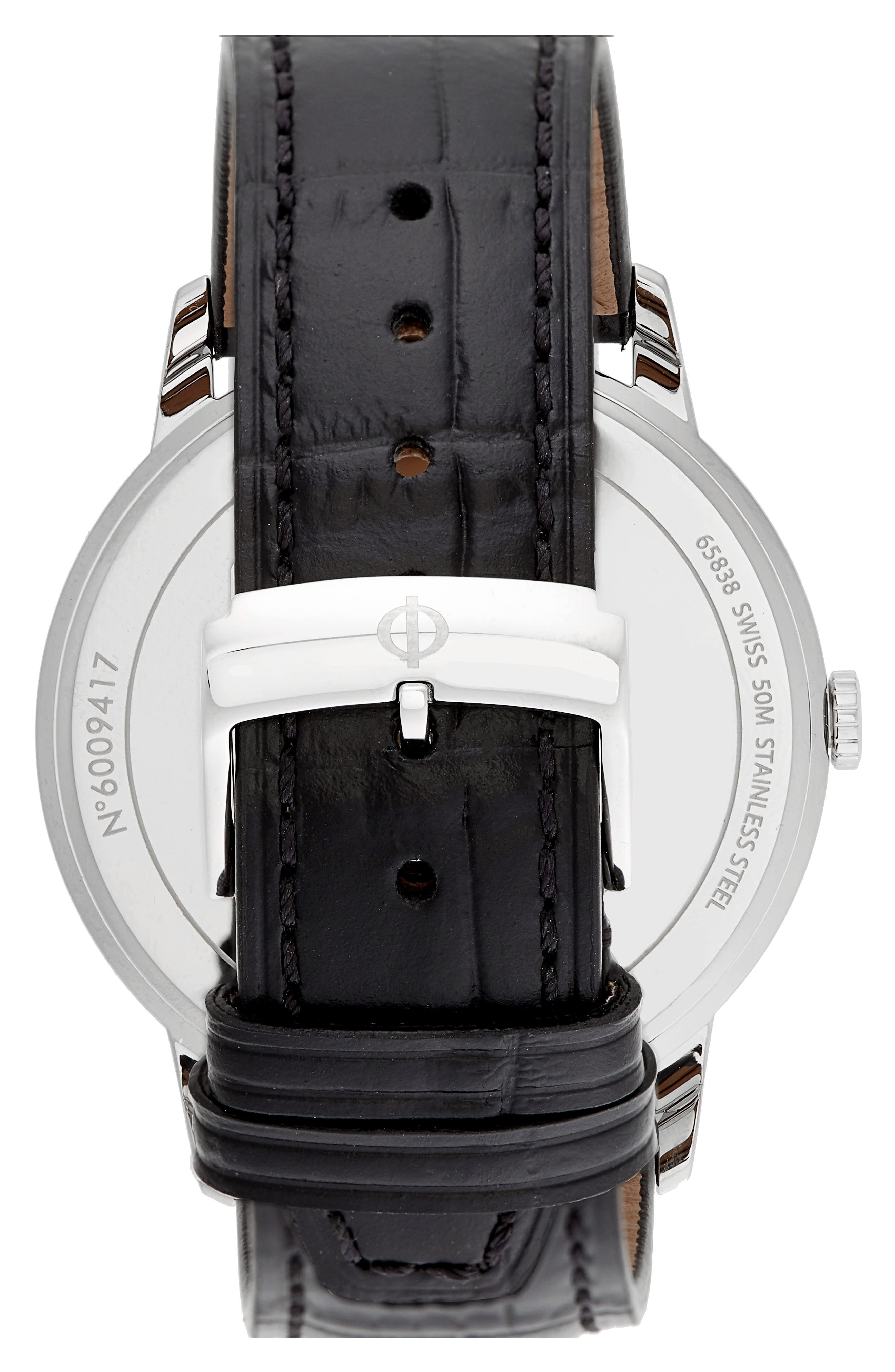 Classima Leather Strap Watch, 42mm,                             Alternate thumbnail 2, color,                             BLACK